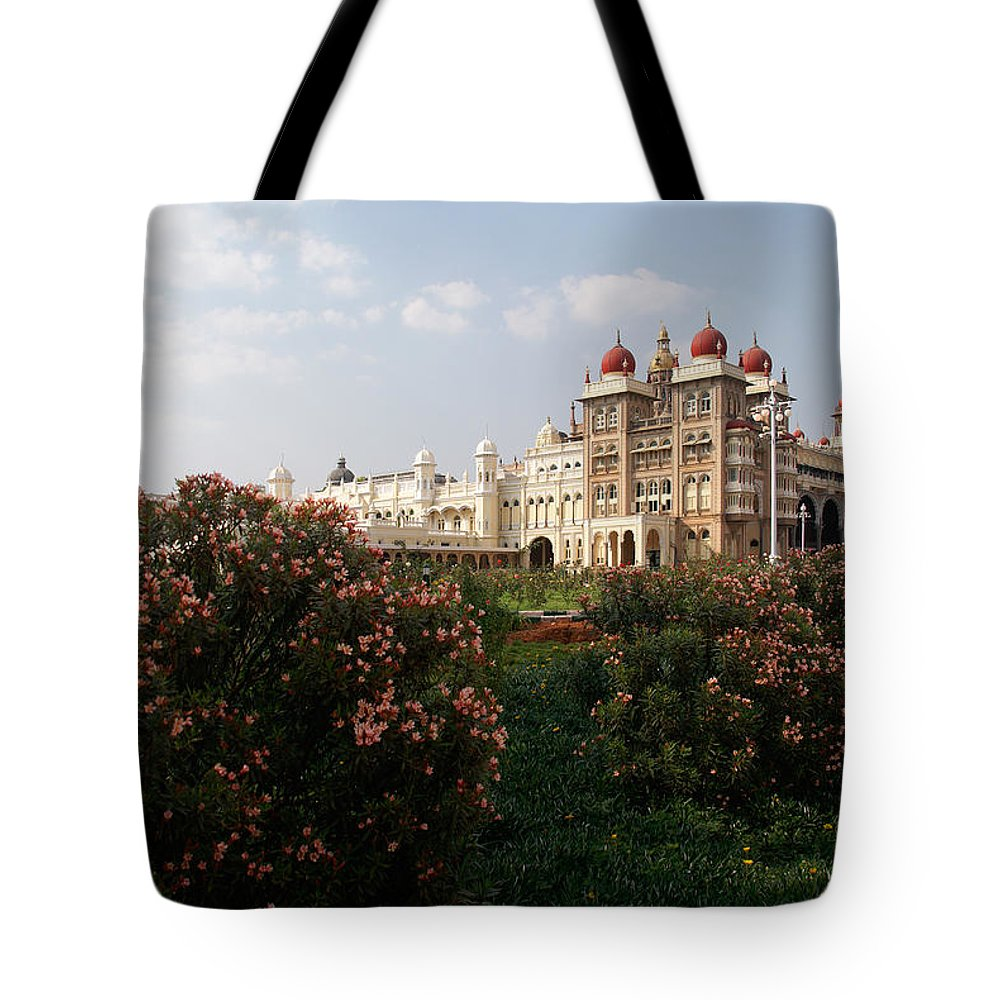 India Tote Bag featuring the digital art Maharaja's Palace And Garden India Mysore by Carol Ailles