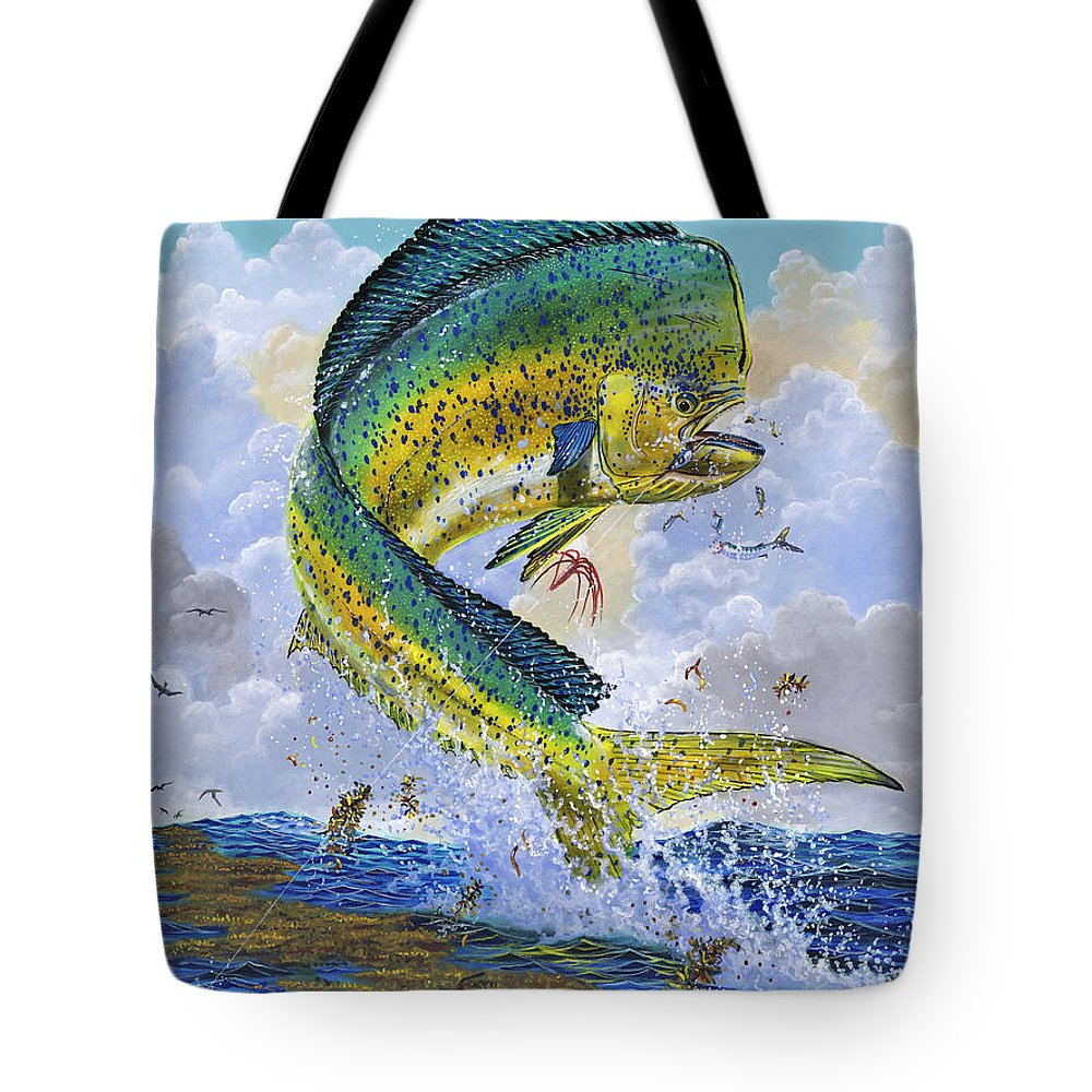 Dolphin Tote Bag featuring the painting Mahi Hookup Off0020 by Carey Chen