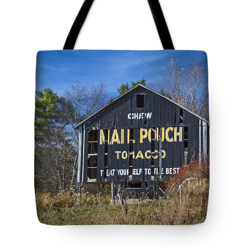 Aged Tote Bag featuring the photograph Mail Pouch Barn by Jack R Perry