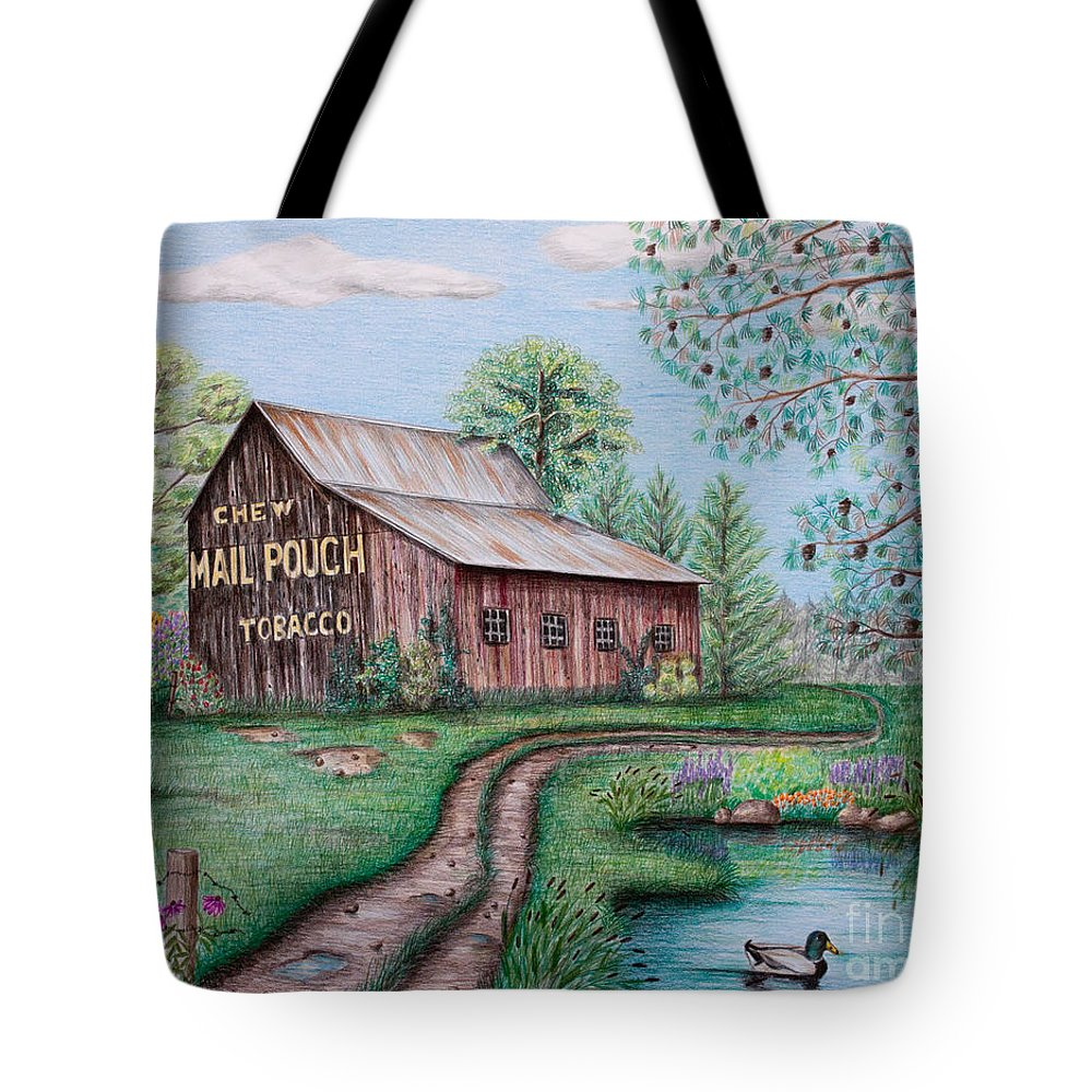 Mail Pouch Tote Bag featuring the drawing Mail Pouch Tobacco Barn by Lena Auxier