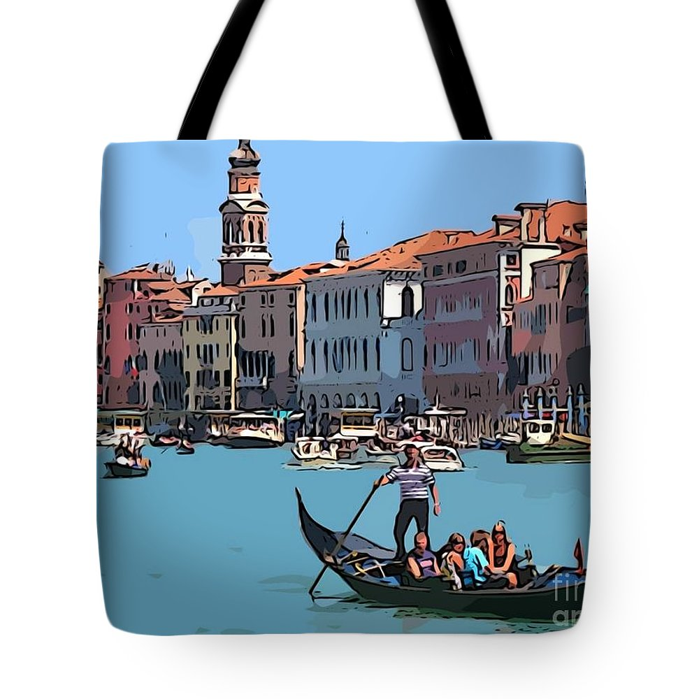 Main Canal Venice Italy Tote Bag featuring the painting Main Canal Venice Italy by John Malone Halifax Graphic artist