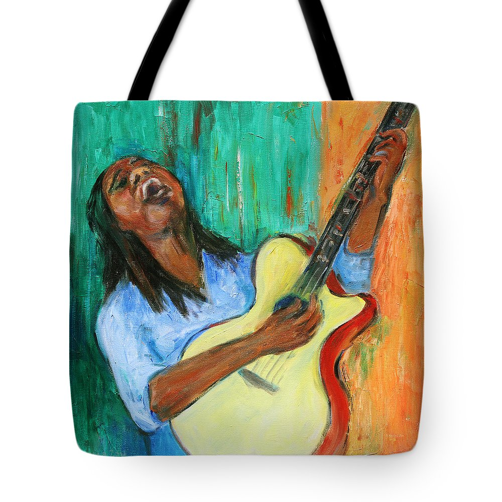 Figurative Tote Bag featuring the painting Main Stage I by Xueling Zou