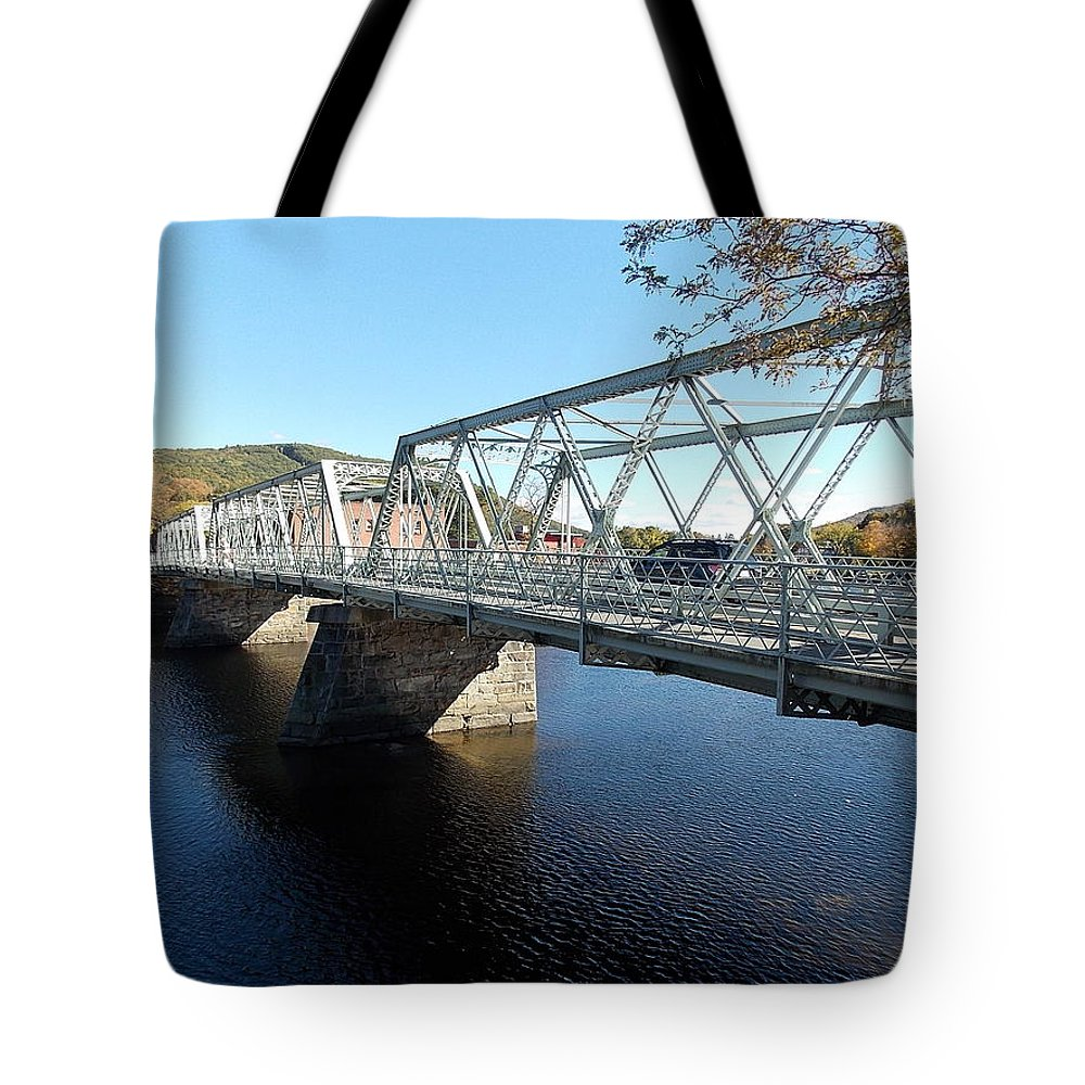 Shelbourne Tote Bag featuring the photograph Main Street Bridge Shelbourne Falls by Nina Kindred
