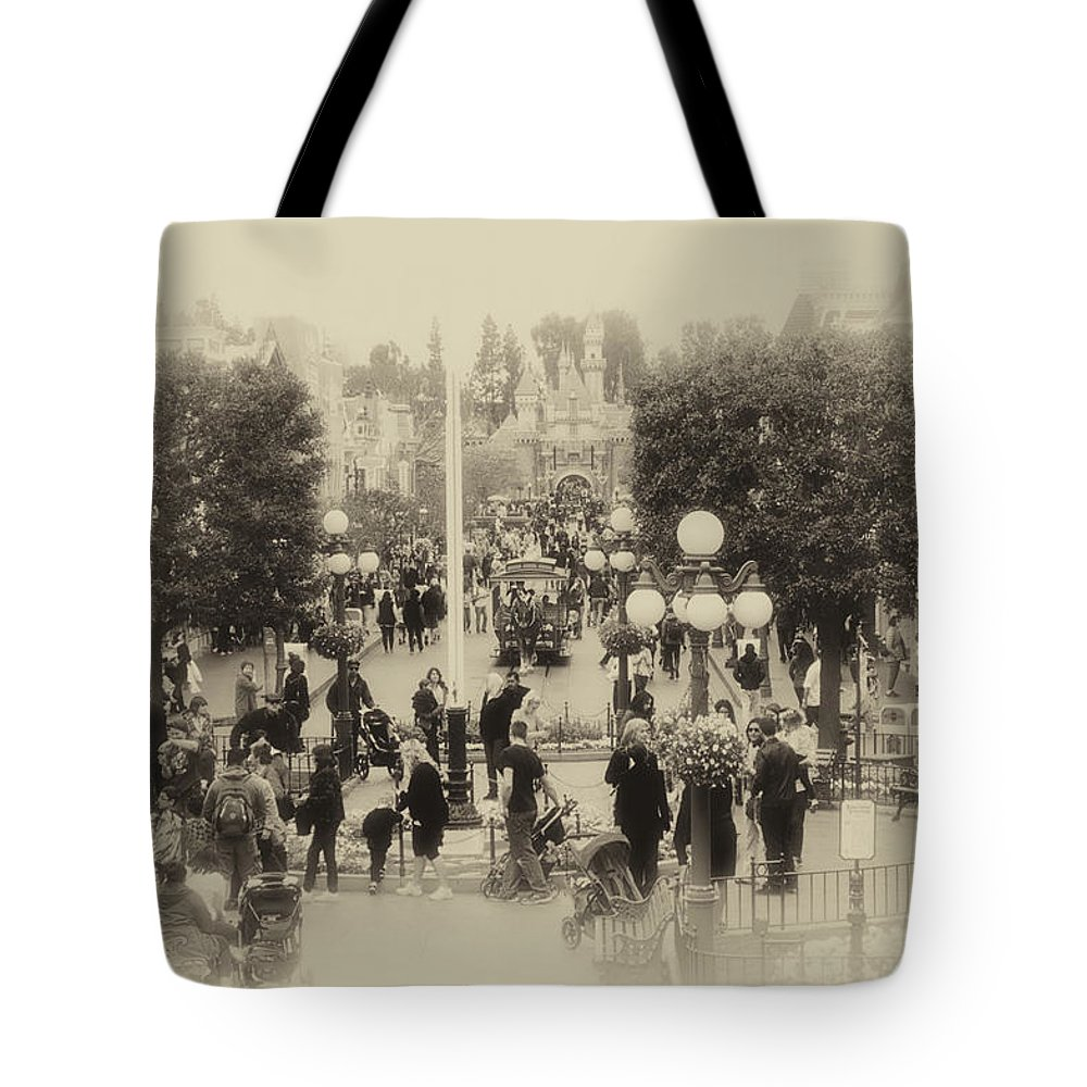 Disney Tote Bag featuring the photograph Main Street Disneyland Heirloom by Thomas Woolworth