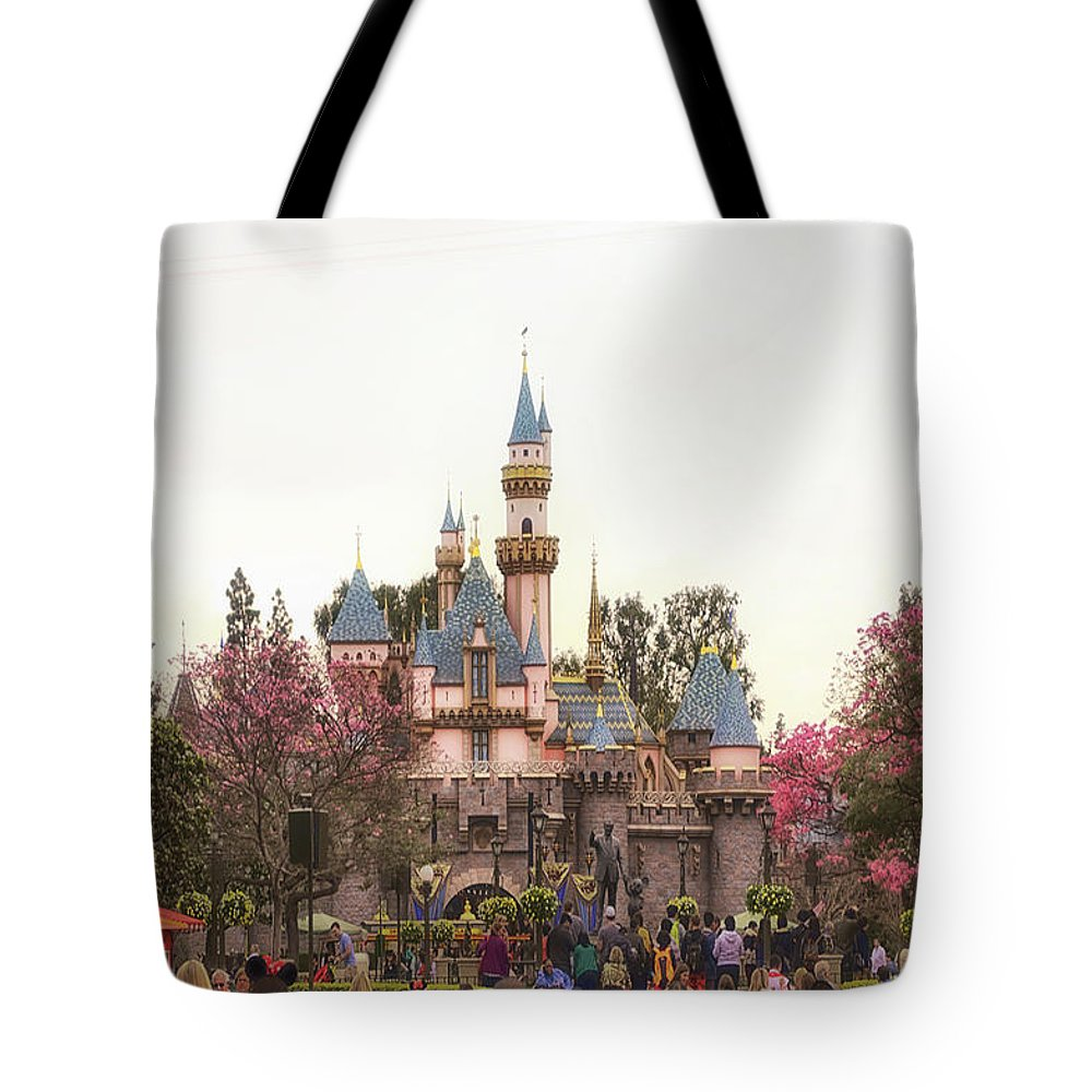 Disney Tote Bag featuring the photograph Main Street Sleeping Beauty Castle Disneyland 02 by Thomas Woolworth