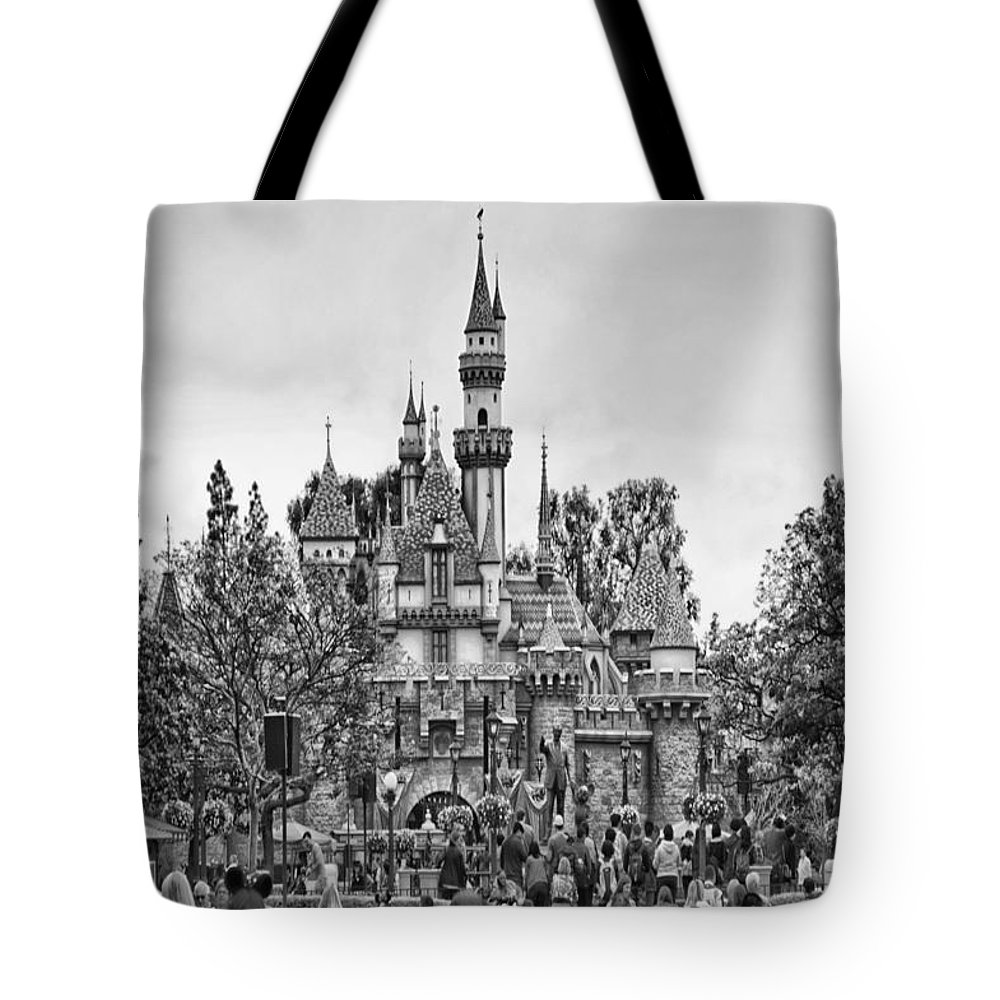 Disney Tote Bag featuring the photograph Main Street Sleeping Beauty Castle Disneyland Bw by Thomas Woolworth