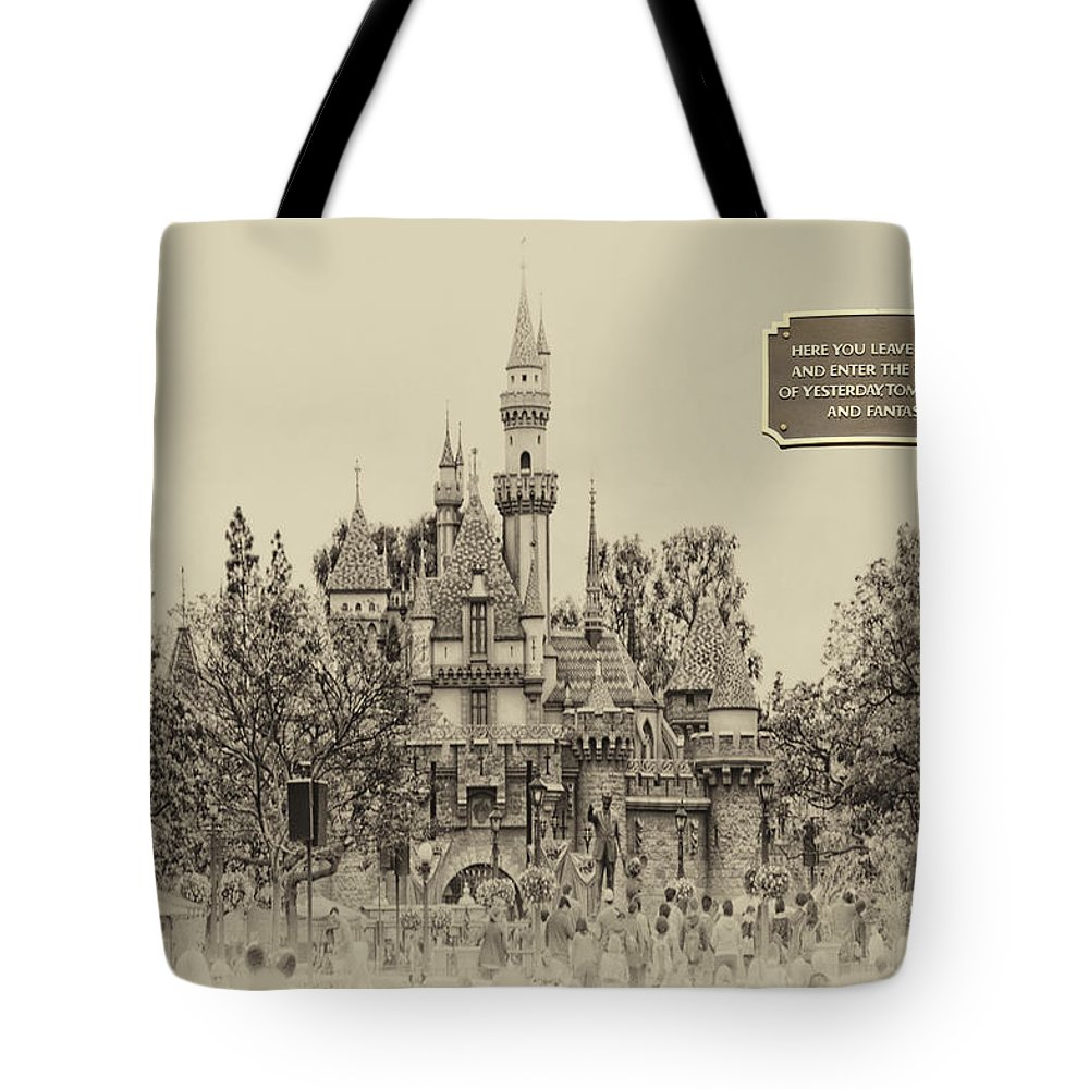 Disney Tote Bag featuring the photograph Main Street Sleeping Beauty Castle Disneyland Heirloom 03 by Thomas Woolworth