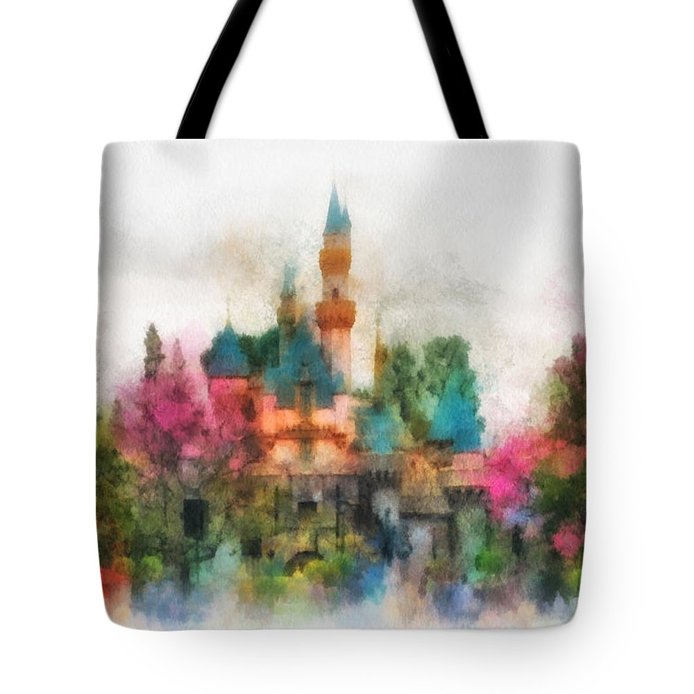 Disney Tote Bag featuring the photograph Main Street Sleeping Beauty Castle Disneyland Photo Art 01 by Thomas Woolworth