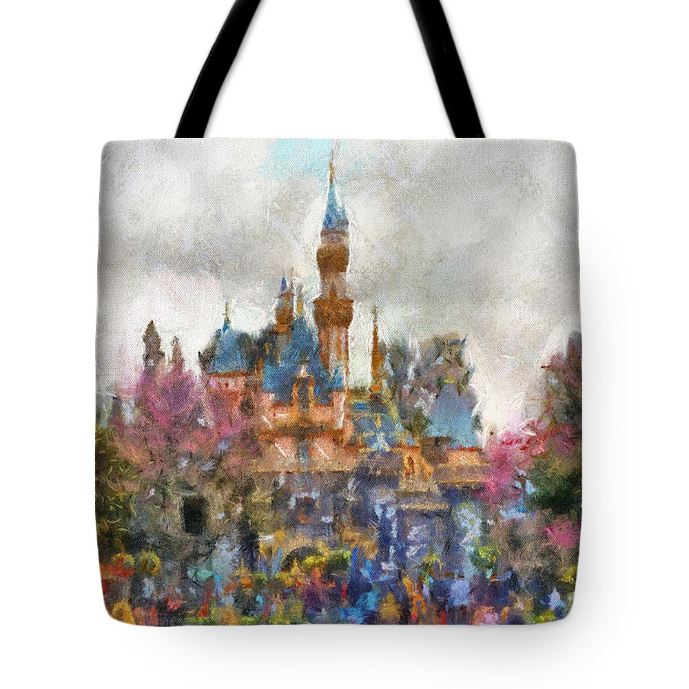 Disney Tote Bag featuring the photograph Main Street Sleeping Beauty Castle Disneyland Photo Art 02 by Thomas Woolworth