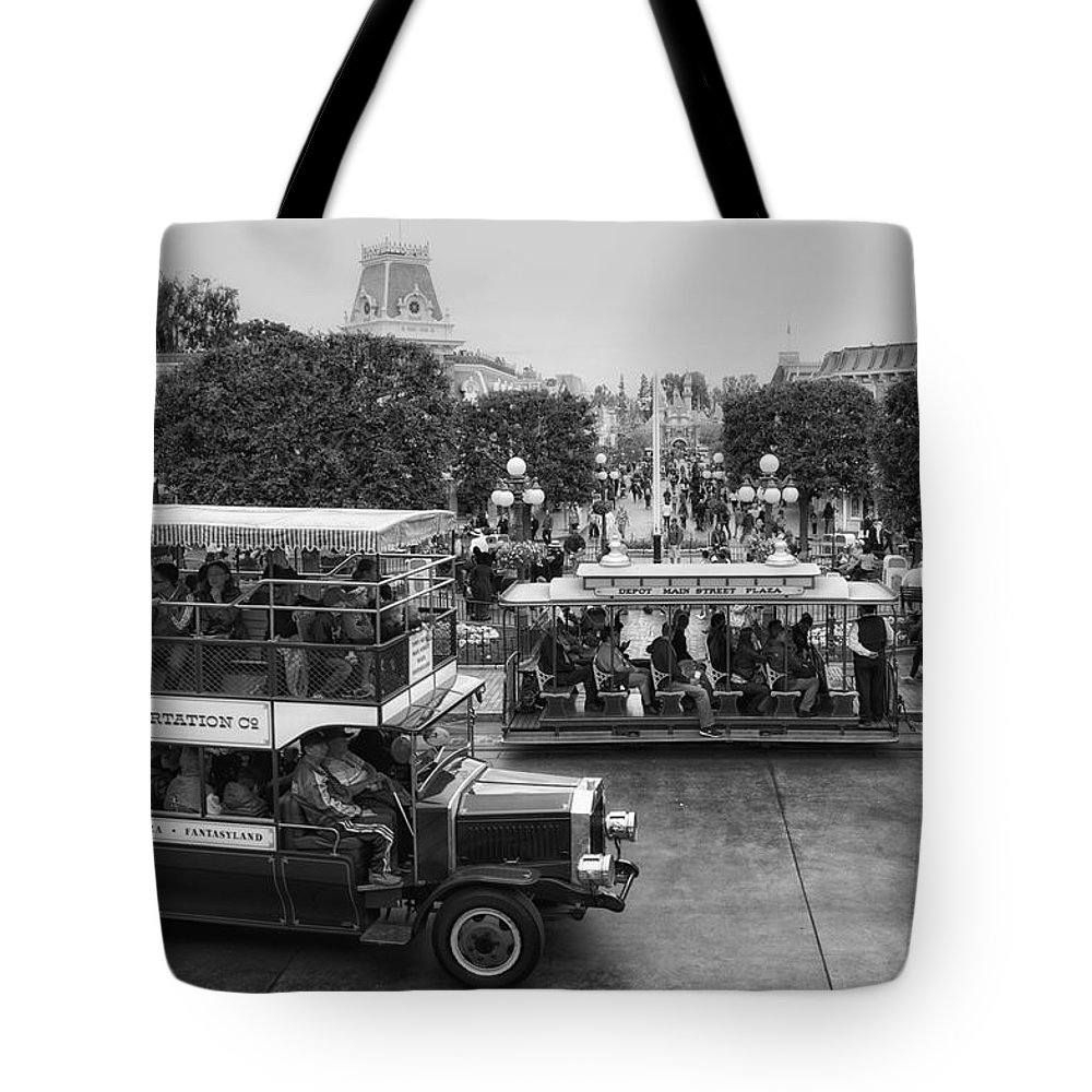 Disney Tote Bag featuring the photograph Main Street Transportation Disneyland Bw by Thomas Woolworth