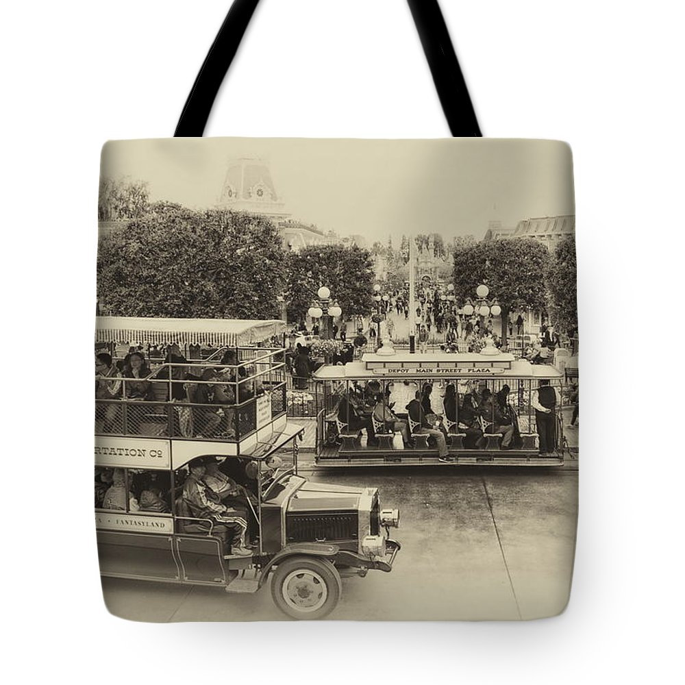 Disney Tote Bag featuring the photograph Main Street Transportation Disneyland Heirloom by Thomas Woolworth