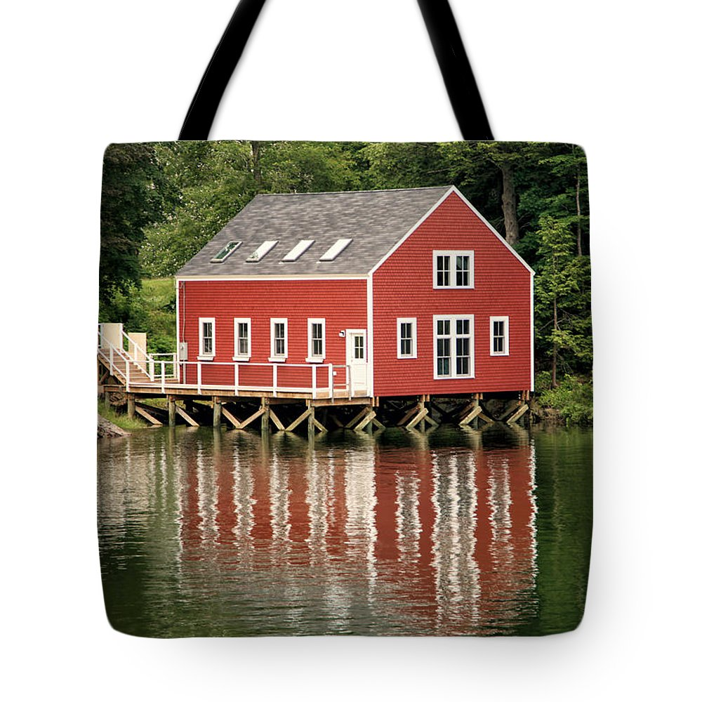 Maine Tote Bag featuring the photograph Maine Boat House by Sharon Horn