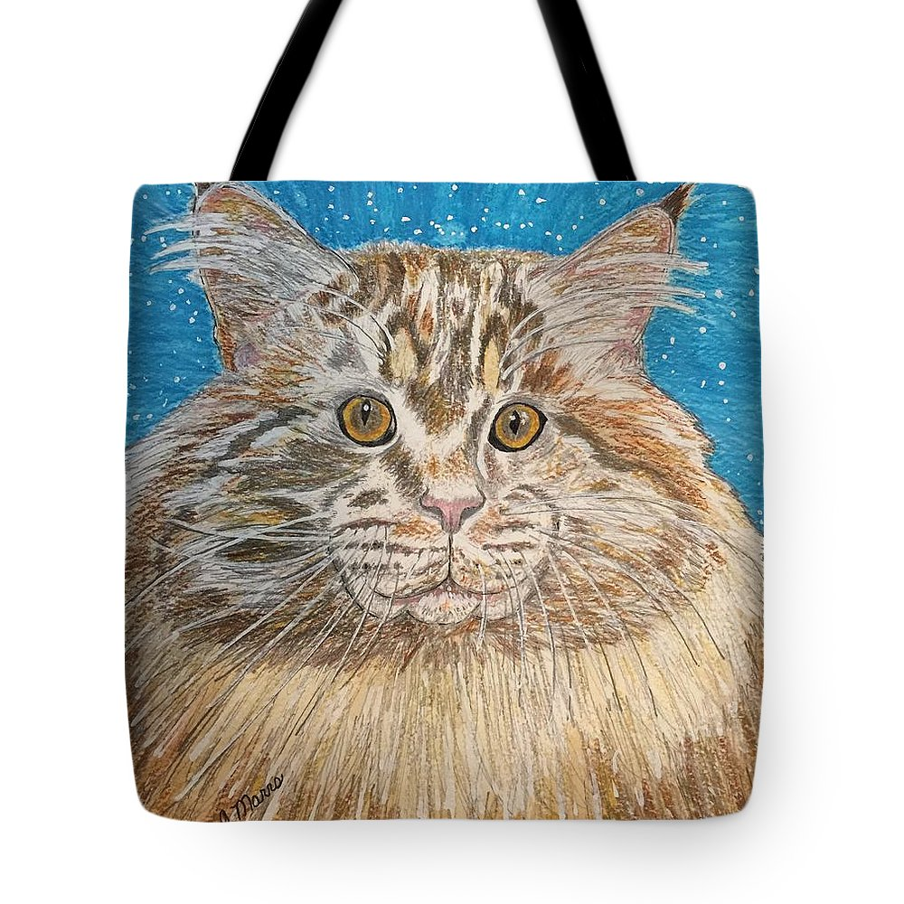 Maine Tote Bag featuring the painting Maine Coon Cat by Kathy Marrs Chandler