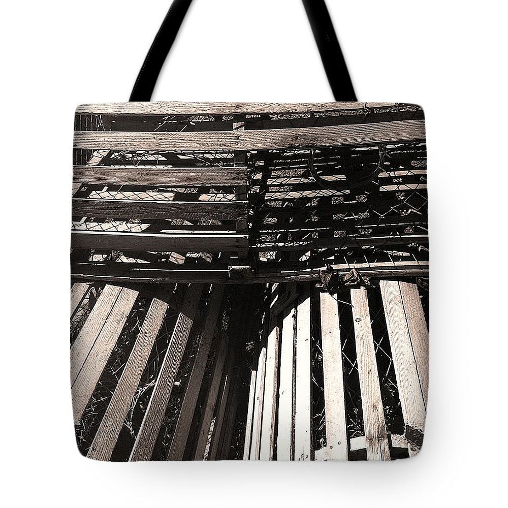 Maine Lobster Traps Tote Bag featuring the photograph Maine Lobster Traps by Denyse Duhaime
