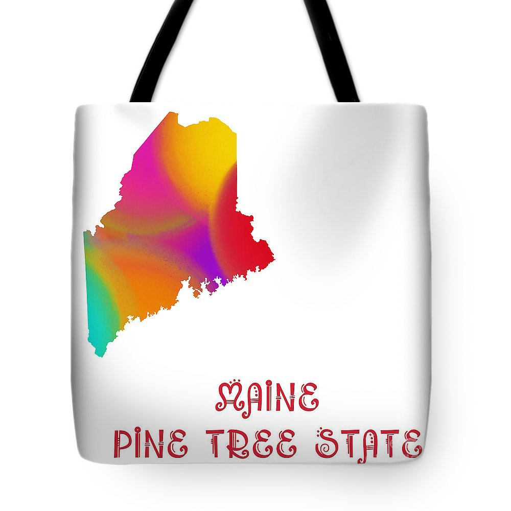 Andee Design Tote Bag featuring the digital art Maine State Map Collection 2 by Andee Design