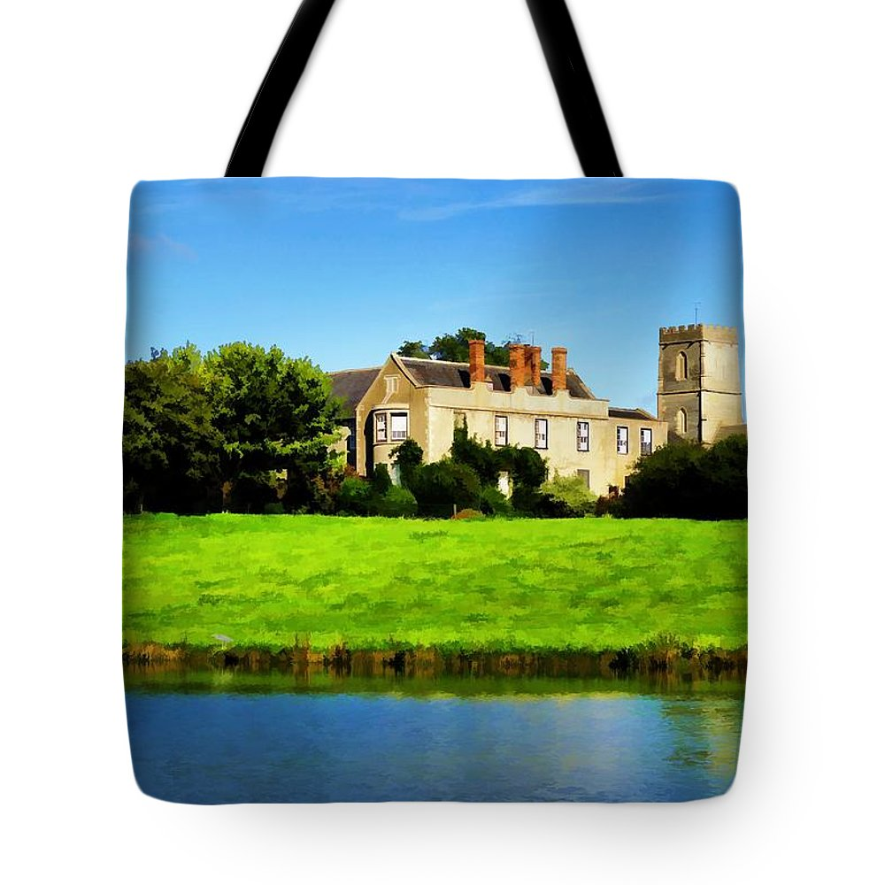 Maisemore Tote Bag featuring the photograph Maisemore Court And Church by Ron Harpham