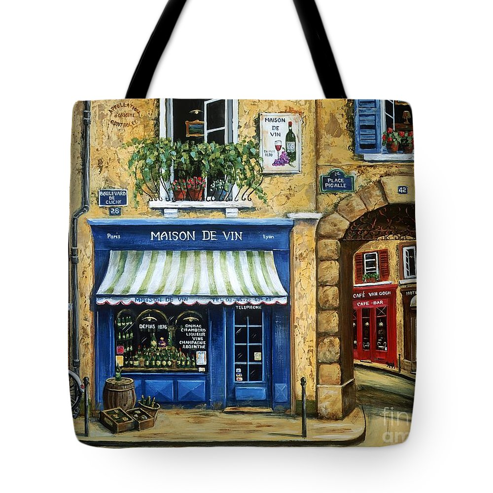 Wine Tote Bag featuring the painting Maison De Vin by Marilyn Dunlap