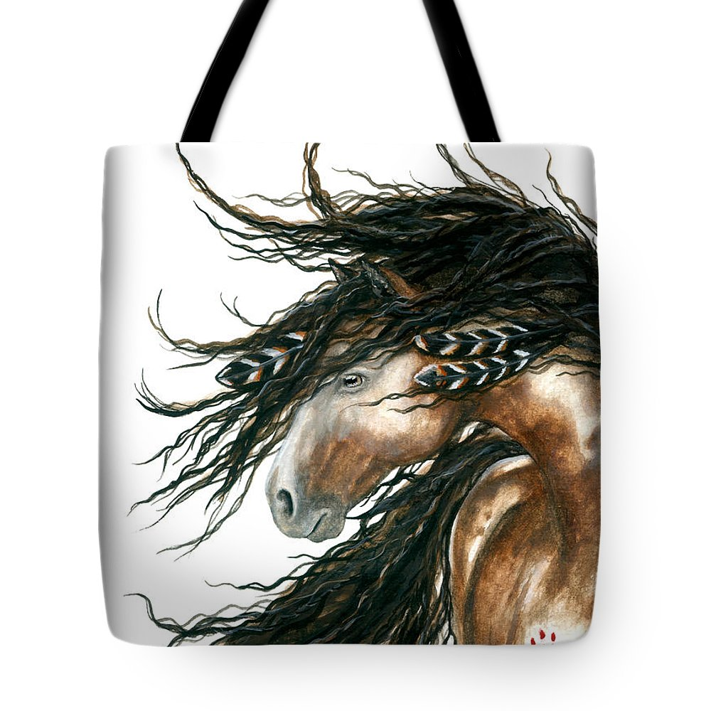 Horse Tote Bag featuring the painting Majestic Pinto Horse 80 by AmyLyn Bihrle