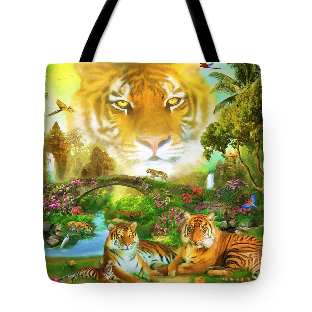 Aimee Stewart Tote Bag featuring the digital art Majestic Tiger Grotto by Aimee Stewart