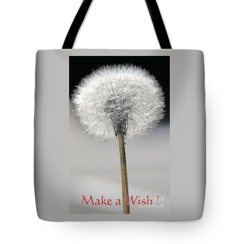 Nature Art Macro Whimsy Flower Dandelion Bruce Fox Graphics Macro Minimal Shot Feng Shui Black Add Whjite Make A Wish Birthday Card Greeting Card Anniversary Card Stock Shot Metal Frame Suggested Canvas Print Suitable Poster Print Available On Duvet Covers Throw Pillows Tote Bags Shower Curtains T Shirts Phone Cases Mugs Tote Bag featuring the photograph Make A Wish by Marcus Dagan