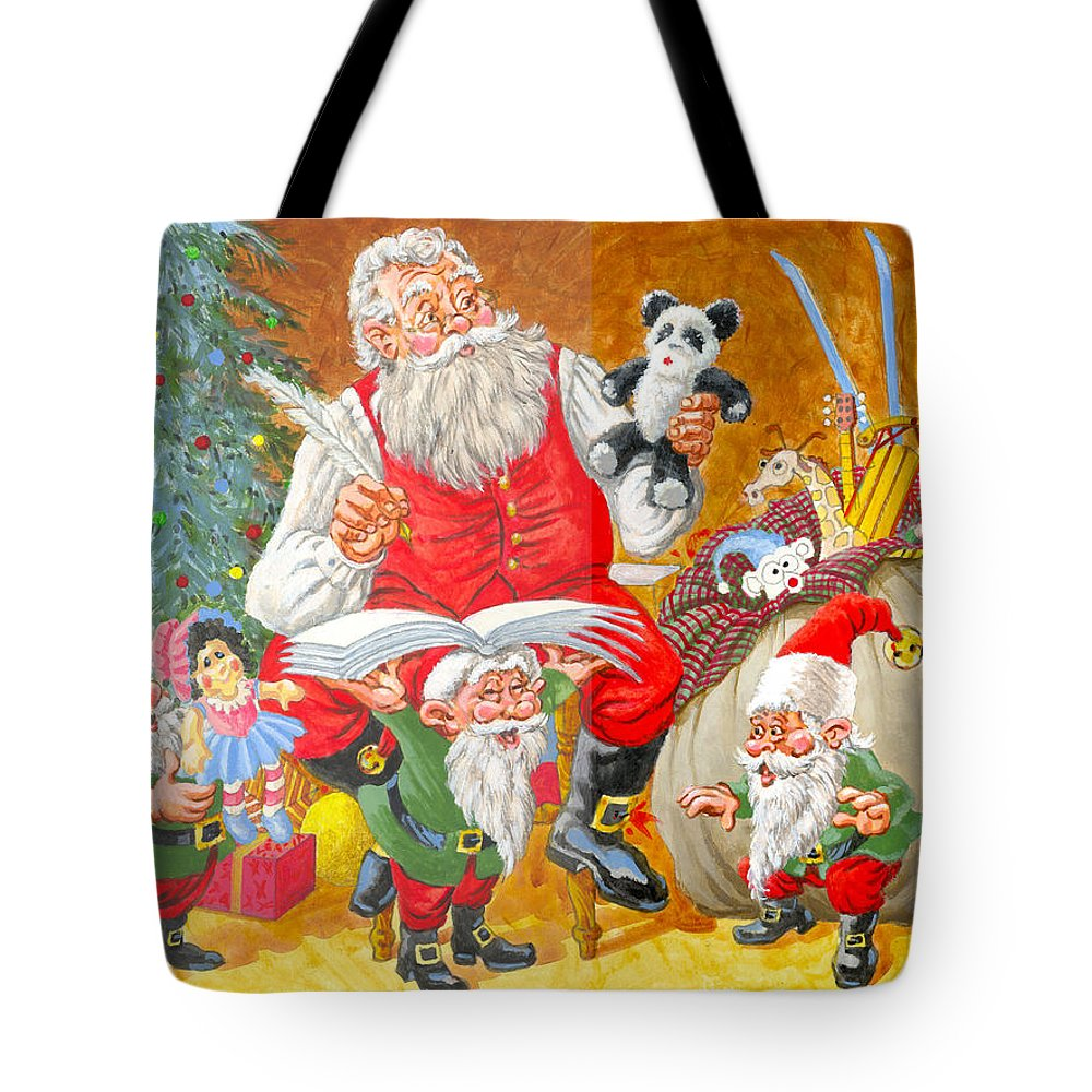 Santa Claus Tote Bag featuring the painting Making A List Checking It Twice by Richard De Wolfe