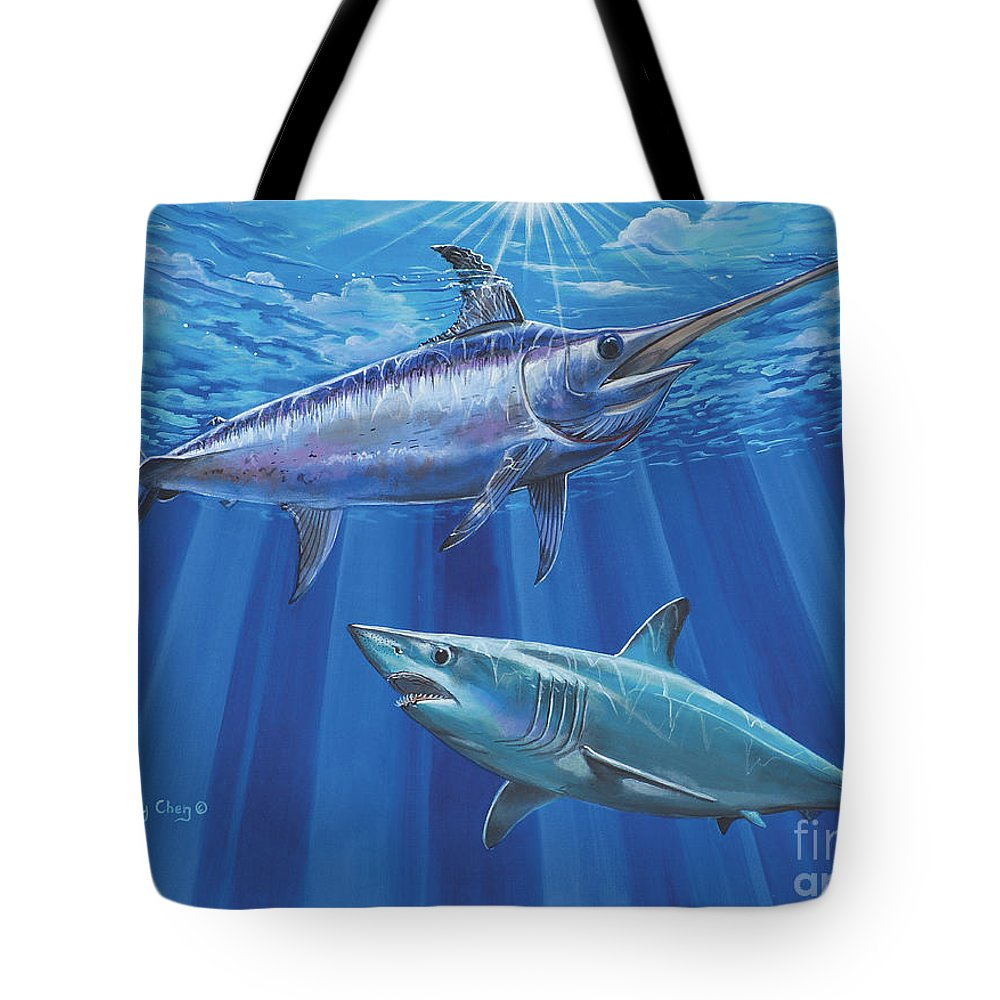 Swordfish Tote Bag featuring the painting Mako Sword Off0024 by Carey Chen