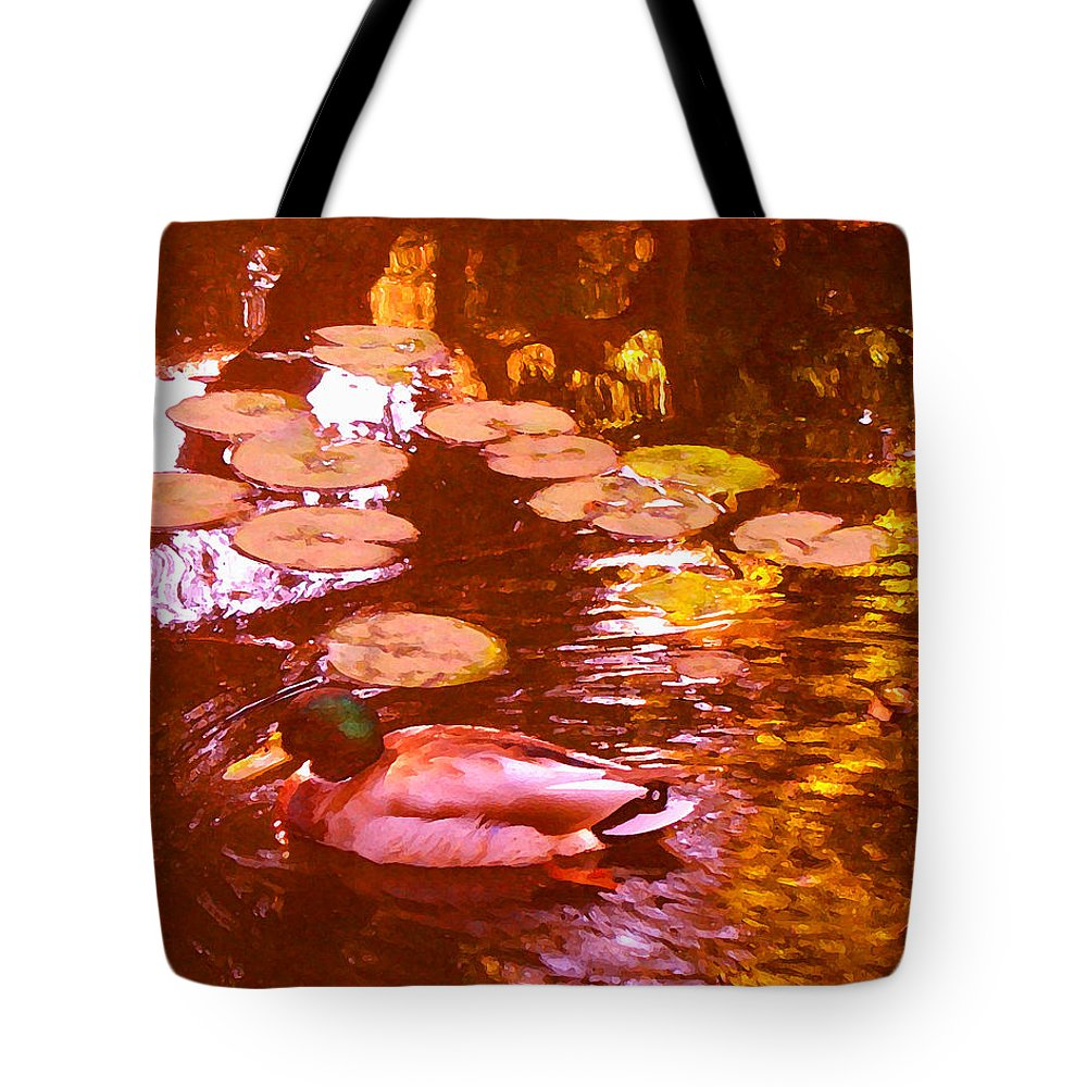 Landscapes Tote Bag featuring the painting Malard Duck On Pond 3 by Amy Vangsgard