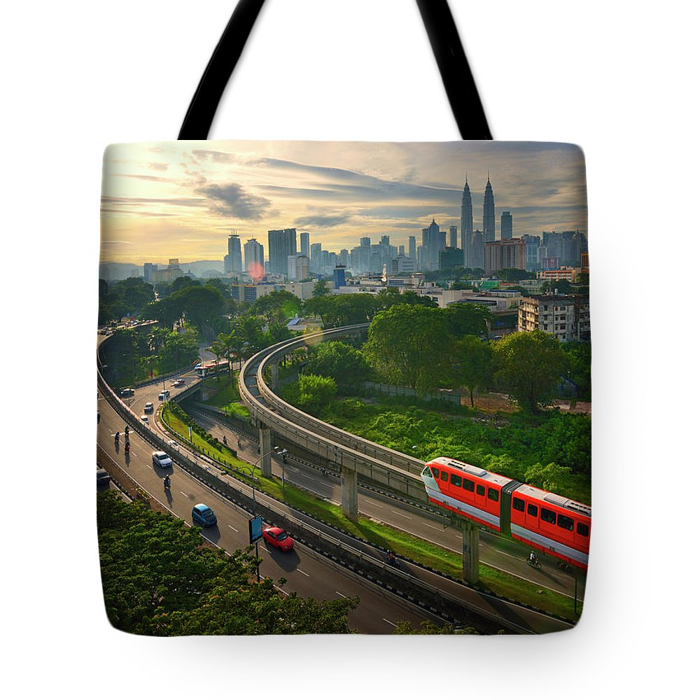 Train Tote Bag featuring the photograph Malaysia - Kuala Lumpur City by By Toonman