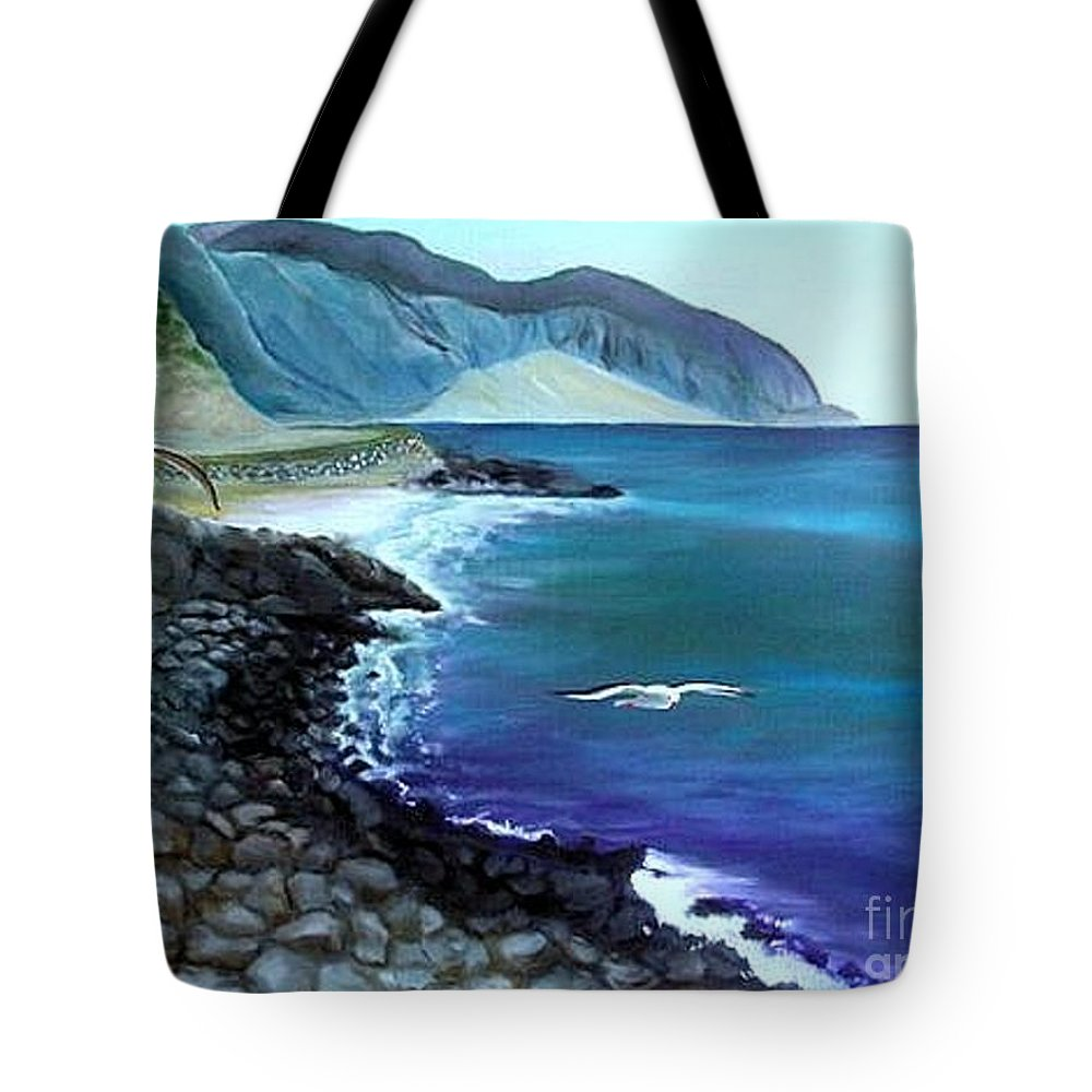 Malibu Beach Tote Bag featuring the painting Malibu Beach by Lora Duguay