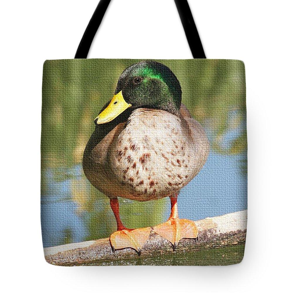 Mallard Duck On Log Tote Bag featuring the photograph Mallard Duck On Log by Tom Janca