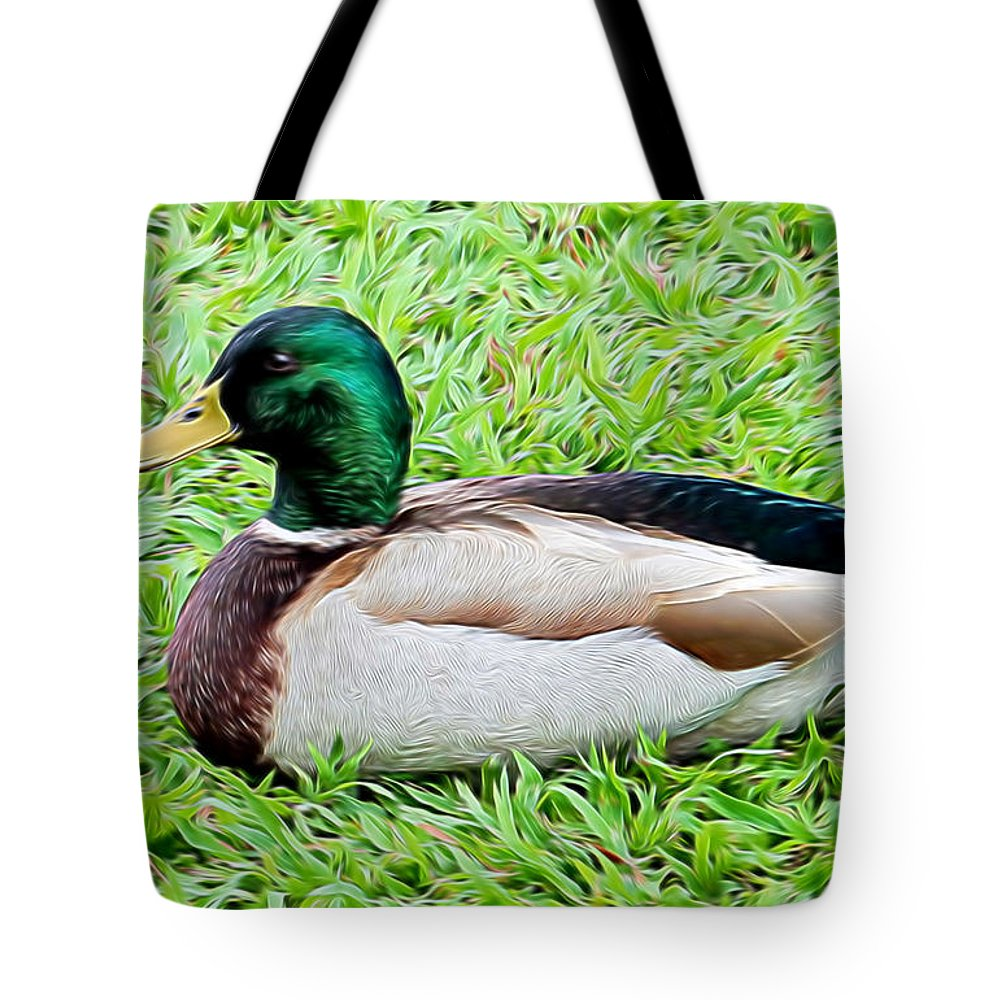 Mallard Tote Bag featuring the mixed media Mallard Duck by Pamela Walton