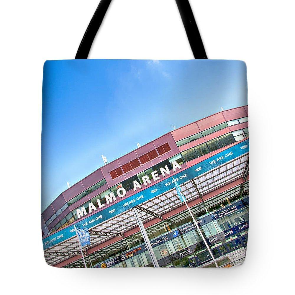 Malmo Tote Bag featuring the photograph Malmo Arena 01 by Antony McAulay