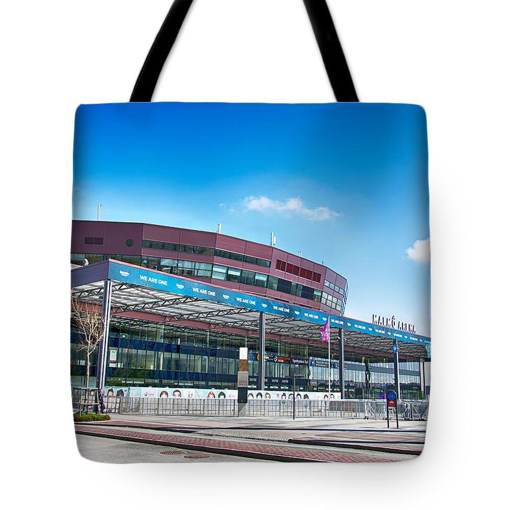 Malmo Tote Bag featuring the photograph Malmo Arena 08 by Antony McAulay
