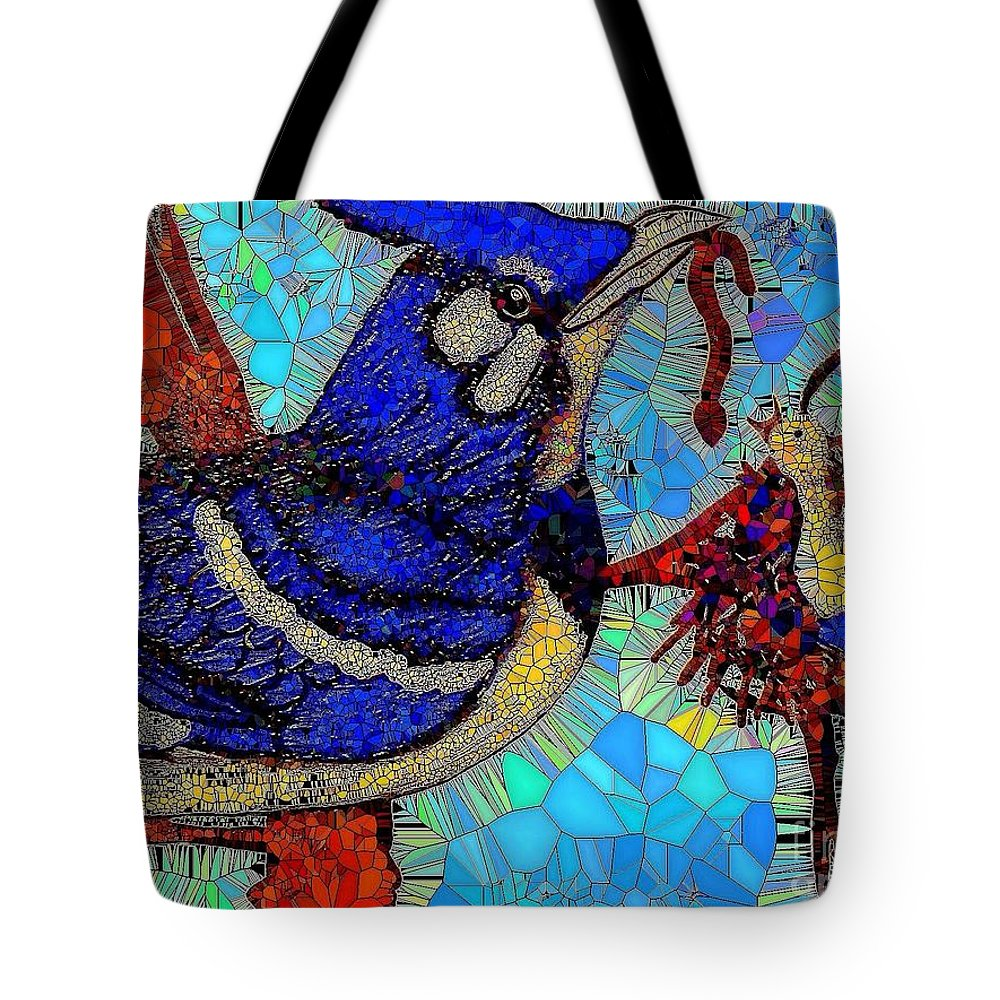 Mosaic Tote Bag featuring the painting Mama Bird Feeding Baby Bird by Saundra Myles