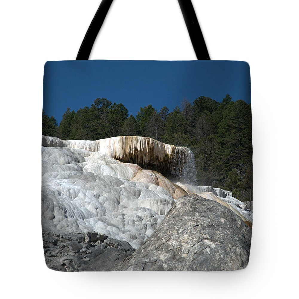 Blue Tote Bag featuring the photograph Mammoth Hot Springs 1 by Frank Madia