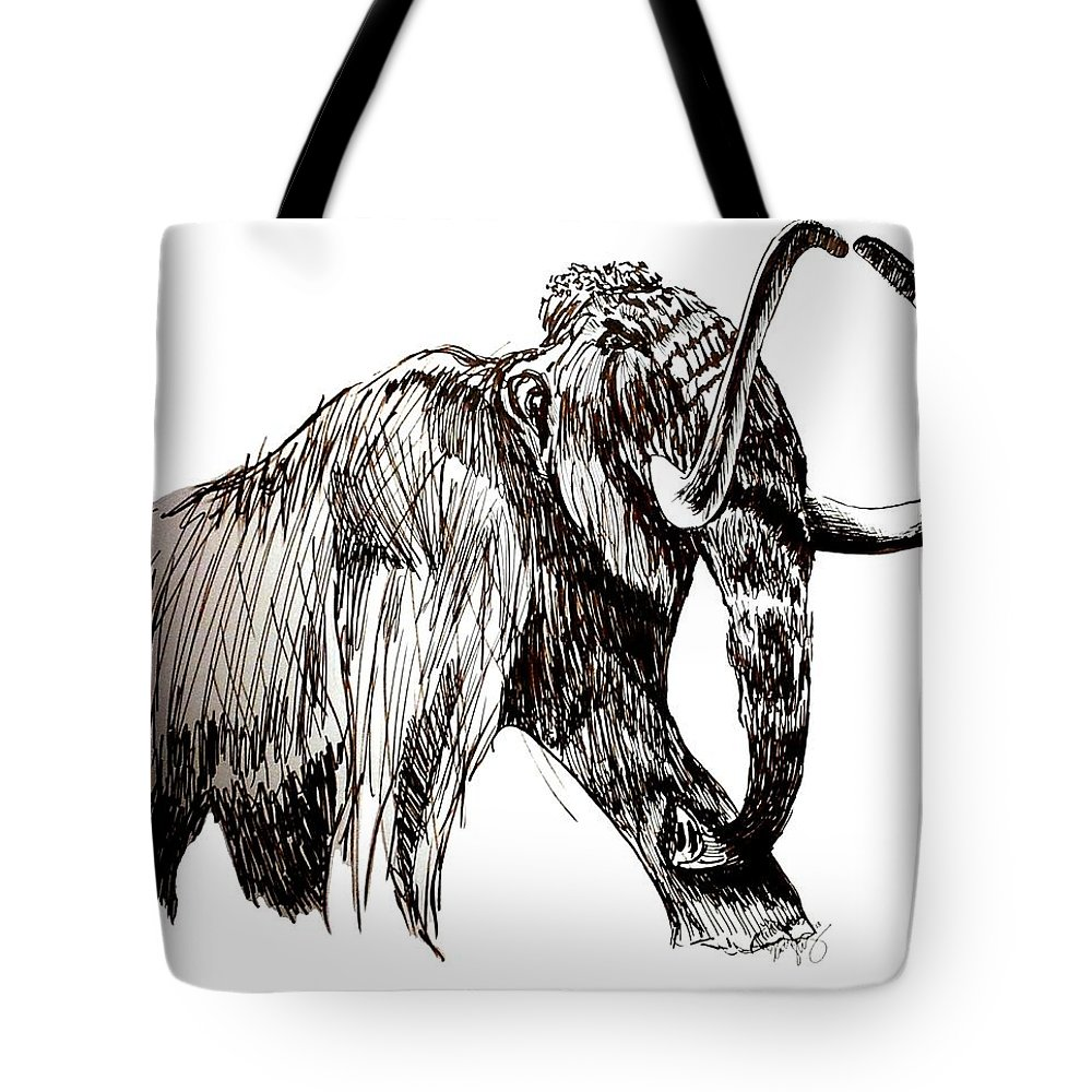 Ink Tote Bag featuring the drawing Mammoth by Kirsten Slaney