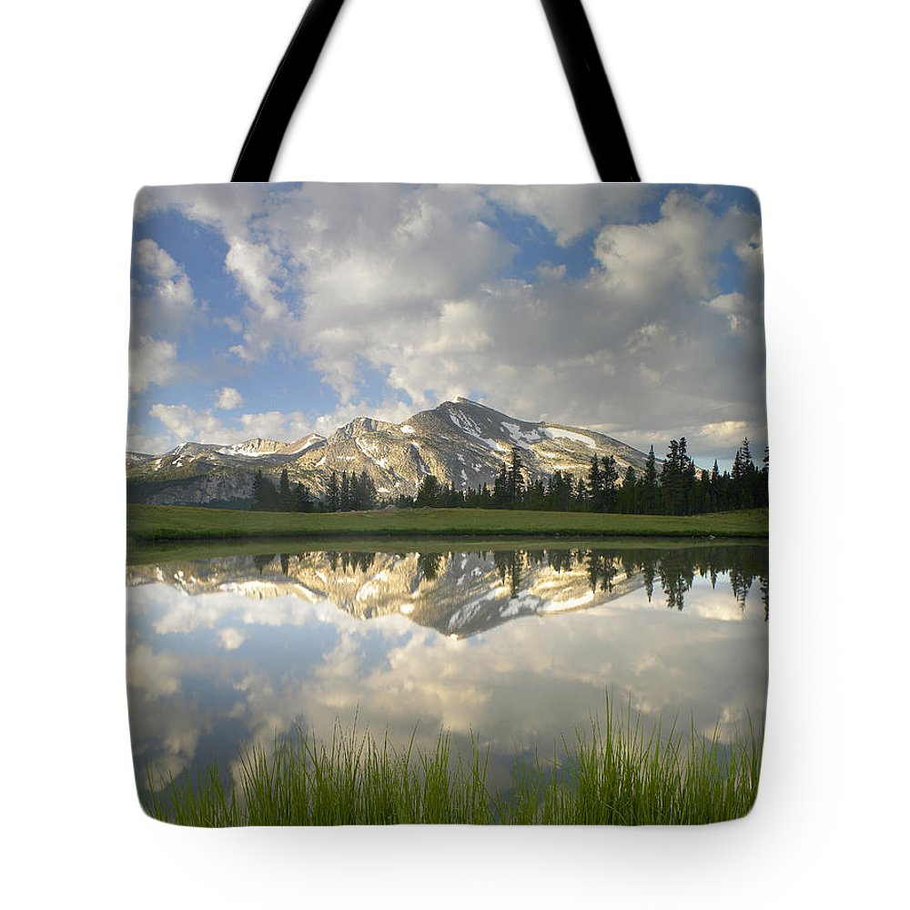 00175345 Tote Bag featuring the photograph Mammoth Peak And Clouds Reflected by Tim Fitzharris
