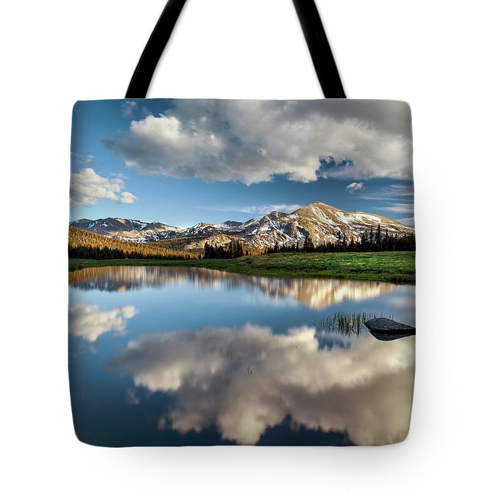 Scenics Tote Bag featuring the photograph Mammoth Peak Reflection by Tom Grubbe