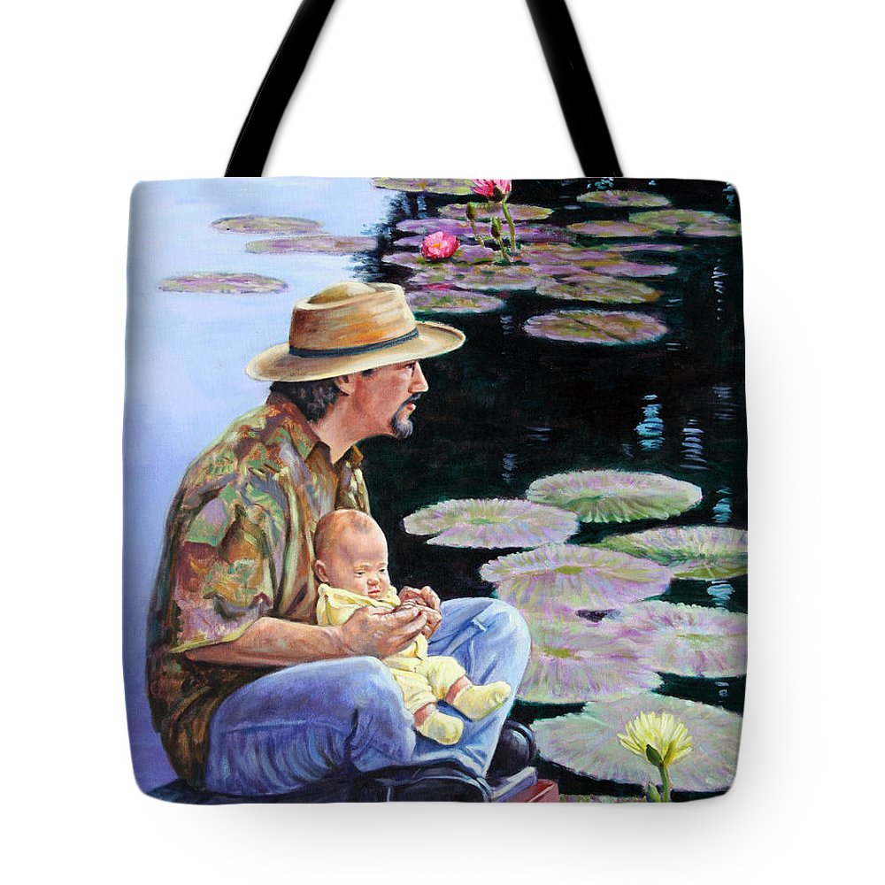 Man Tote Bag featuring the painting Man And Child In The Garden by John Lautermilch