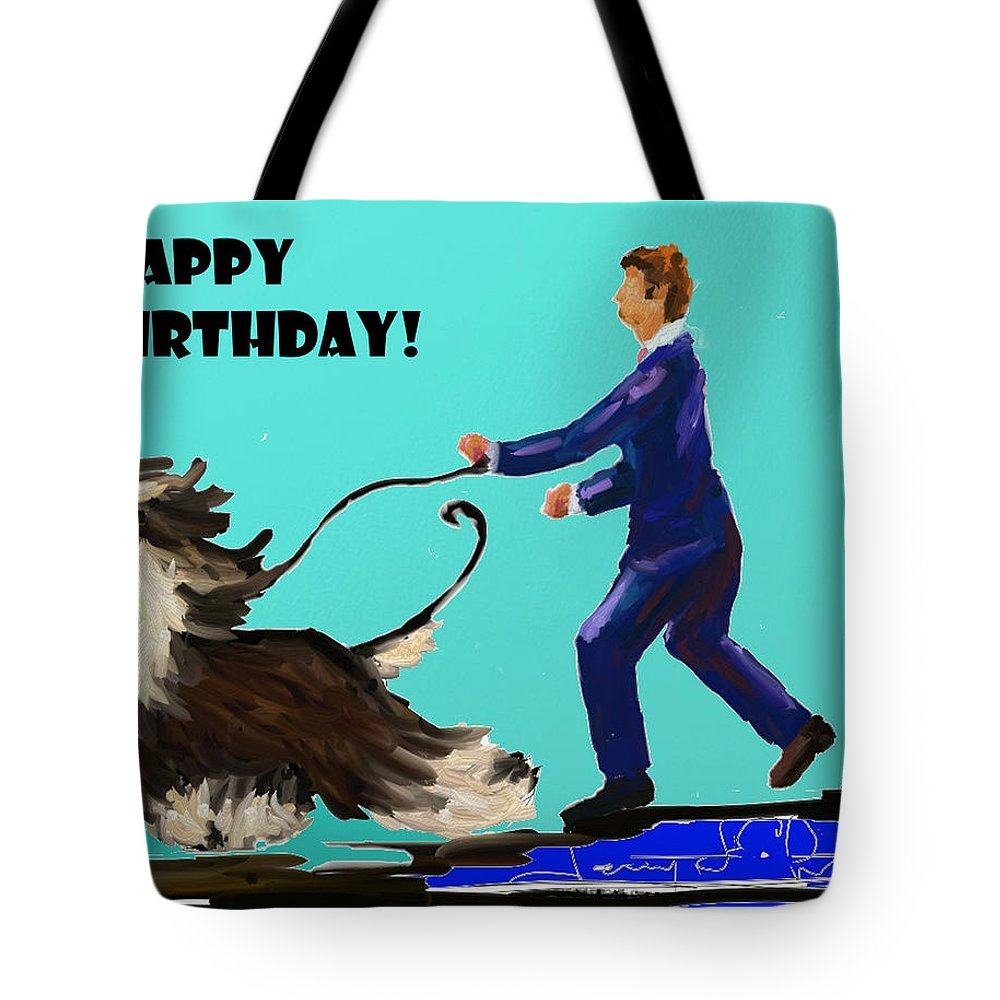 Ipad Finger Painting Tote Bag featuring the painting Man And His Dog by Terry Chacon