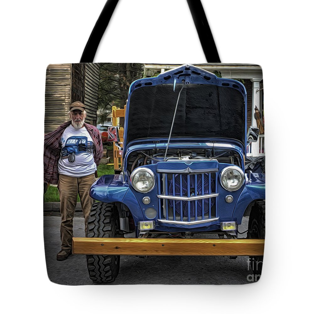 Jeep Tote Bag featuring the photograph Man And His Jeep by David B Kawchak Custom Classic Photography