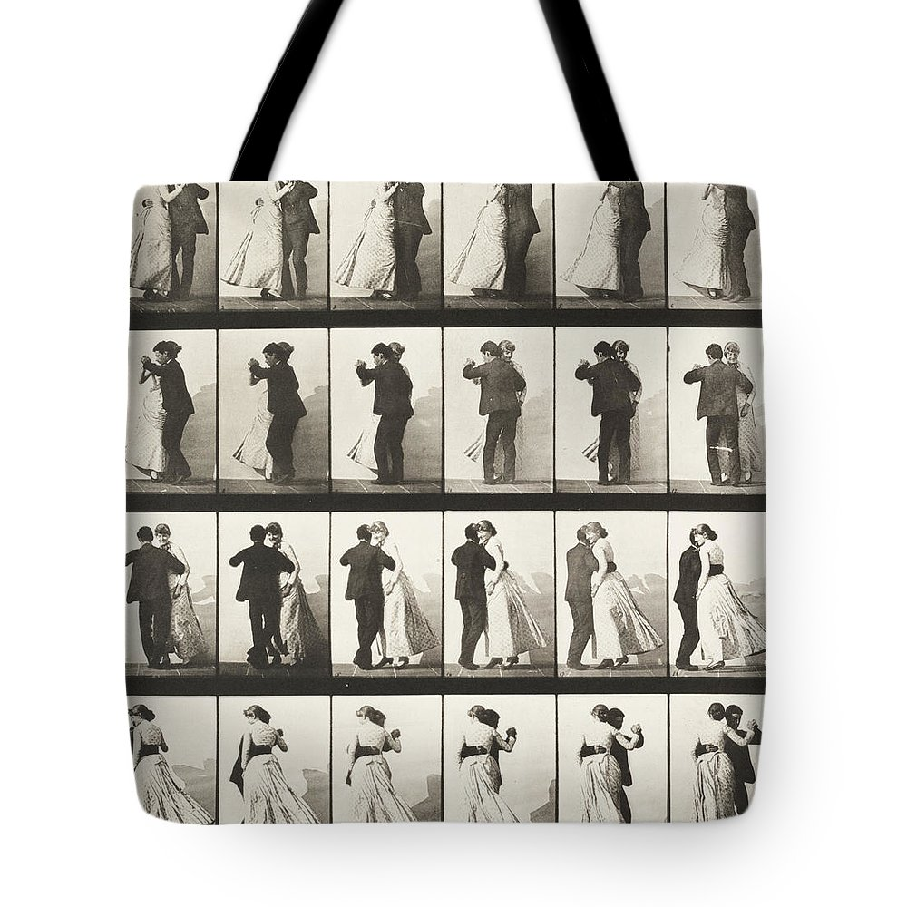 Jumping Tote Bag featuring the photograph Man And Woman Dancing A Waltz by Celestial Images
