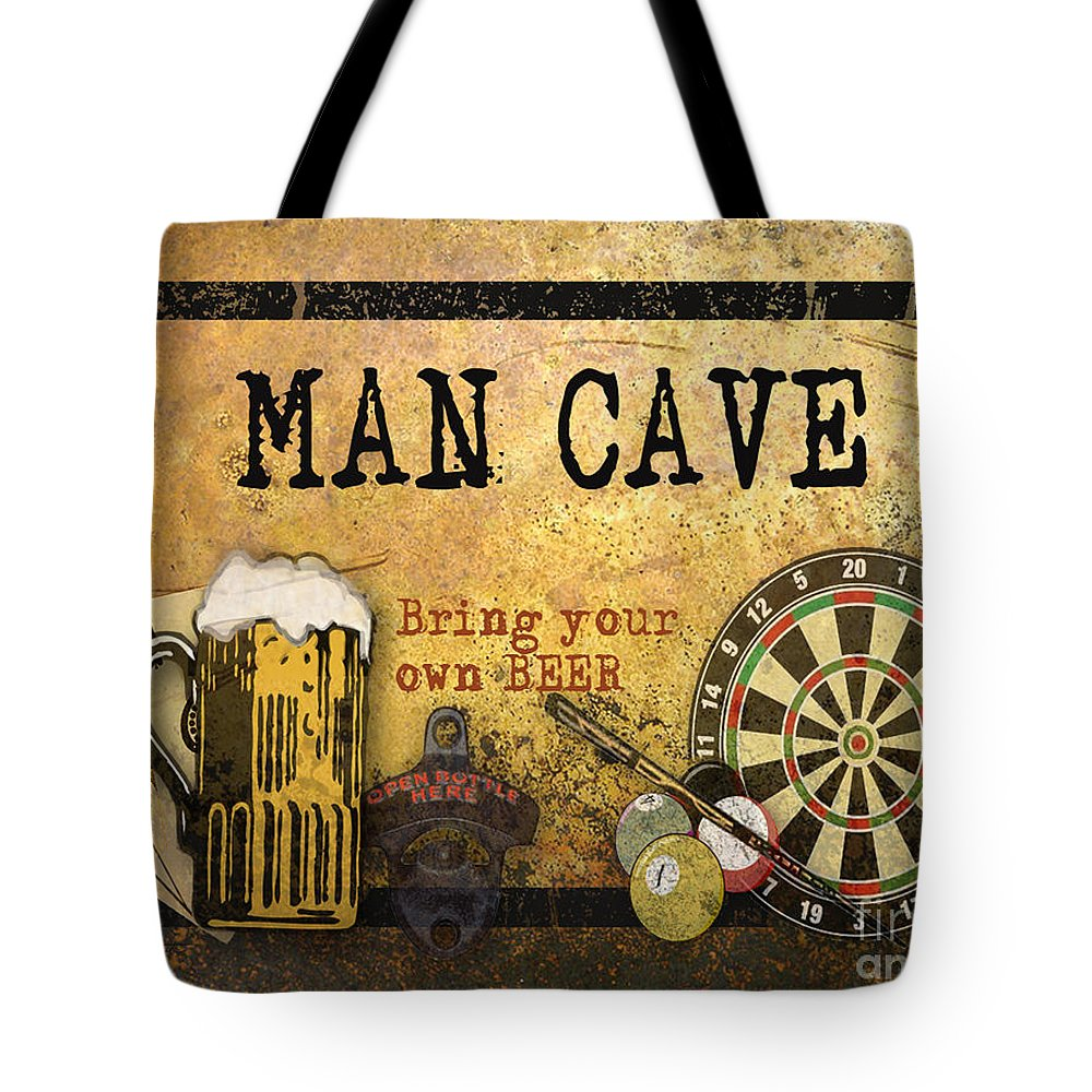Jean Plout Tote Bag featuring the digital art Man Cave-bring Your Own Beer by Jean Plout