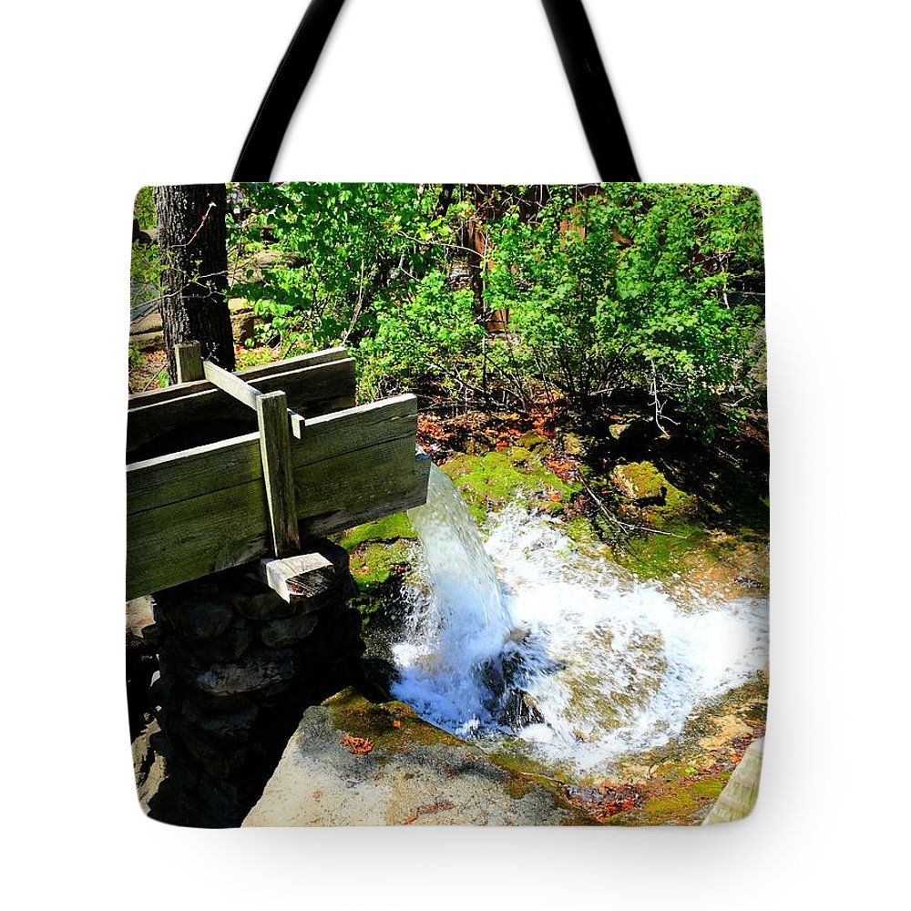 Sluice Tote Bag featuring the photograph Man Made Waterfall V2 by John Straton