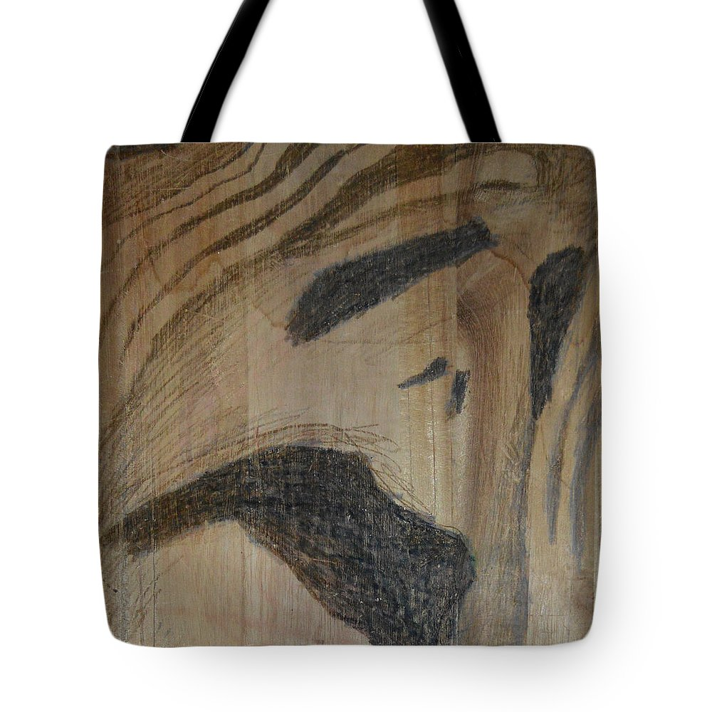 Abstract Modern Outsider Raw Folk Construction Christ Jesus Savior Religious Christian Catholic Religion Wood Wooden Box Distress Stress People Black Tote Bag featuring the painting Man Of Sorrows I - Back by Nancy Mauerman