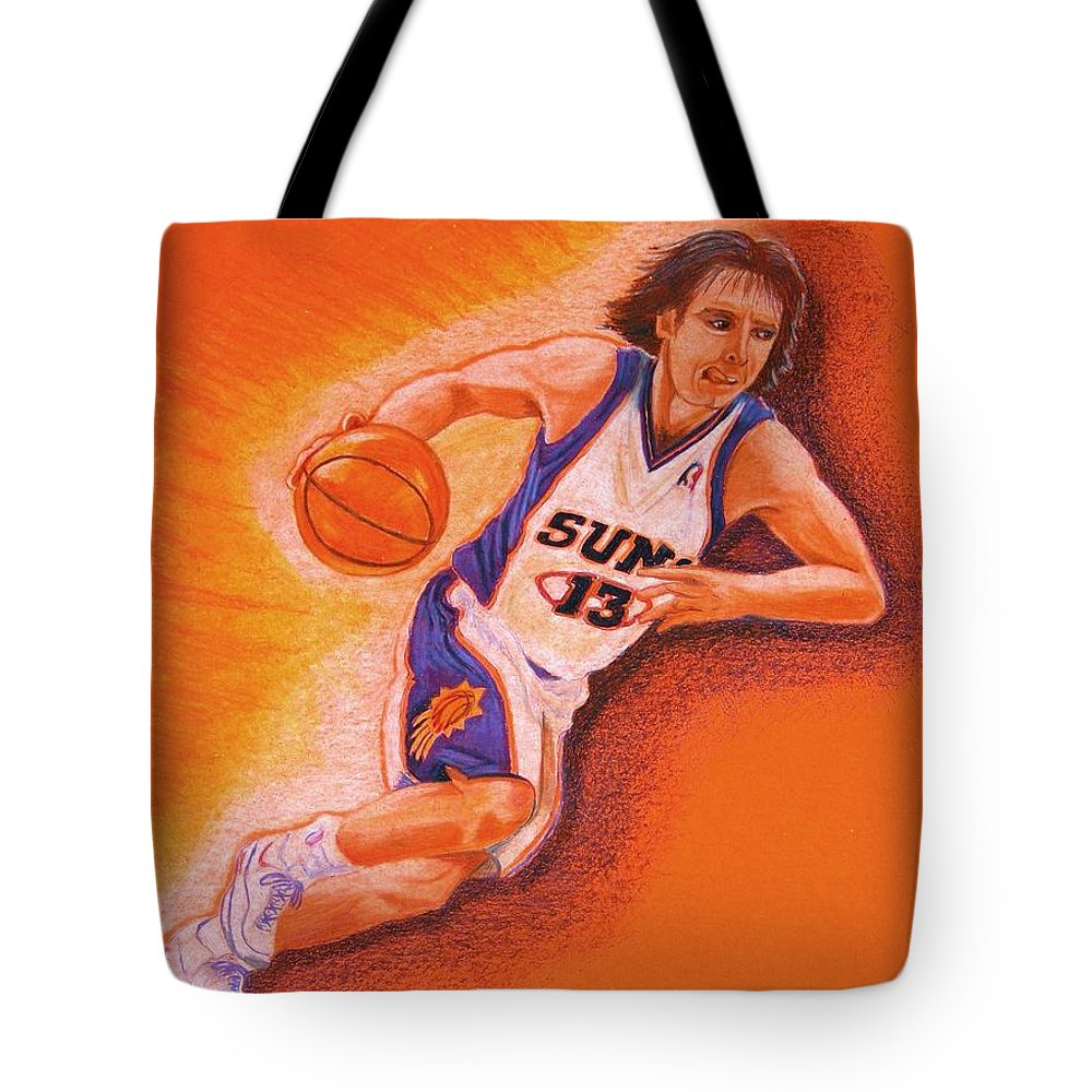 Steve Nash Tote Bag featuring the drawing Man On Fire by Marilyn Smith