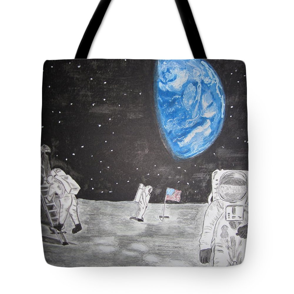 Stars Tote Bag featuring the painting Man On The Moon by Kathy Marrs Chandler