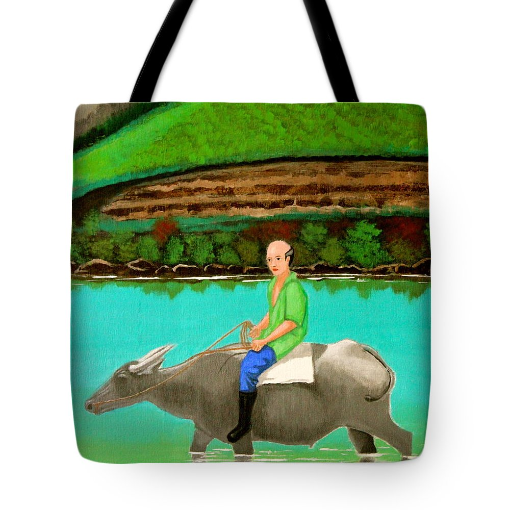 Landscape Tote Bag featuring the painting Man Riding A Carabao by Cyril Maza