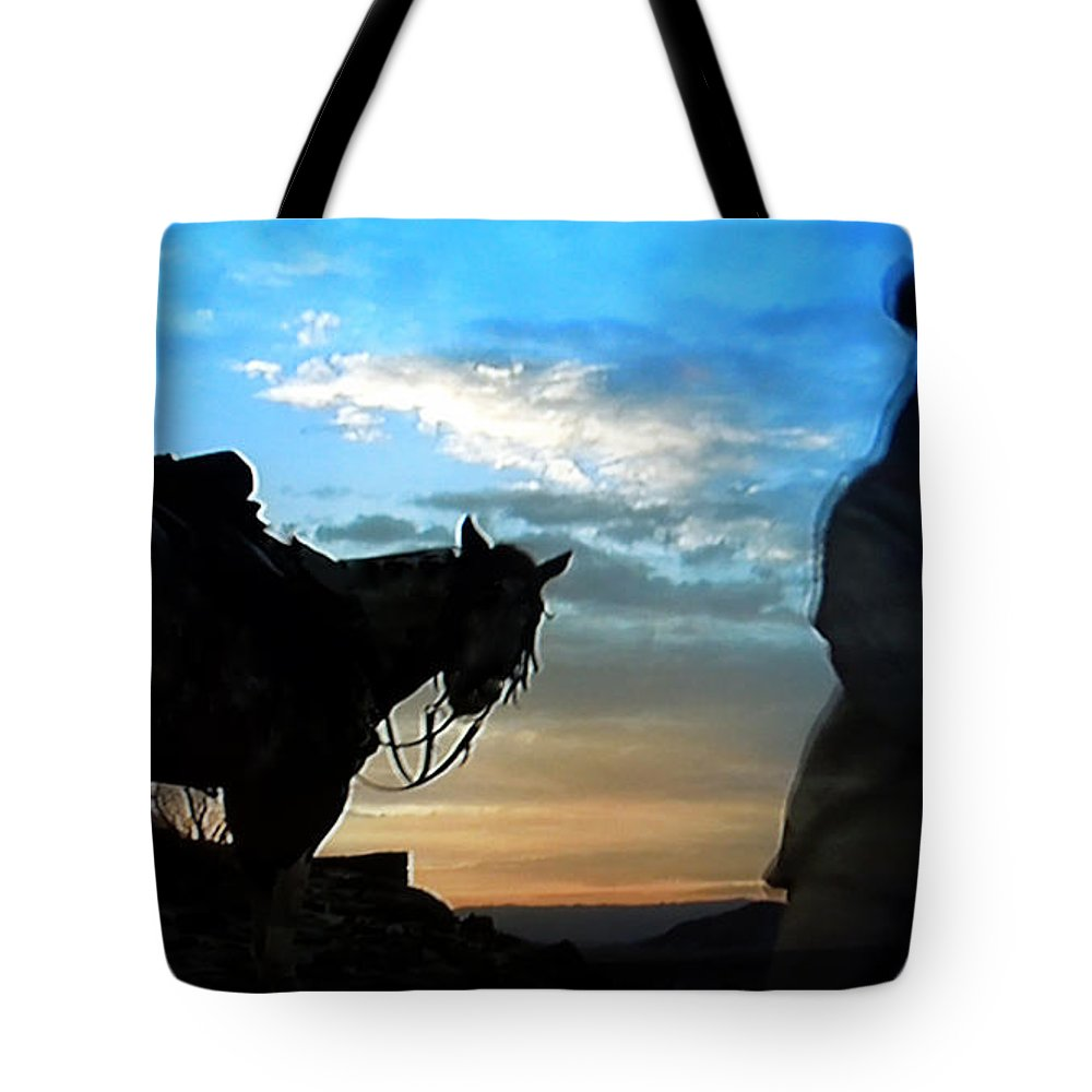 Colette Tote Bag featuring the photograph Man With His Horse by Colette V Hera Guggenheim