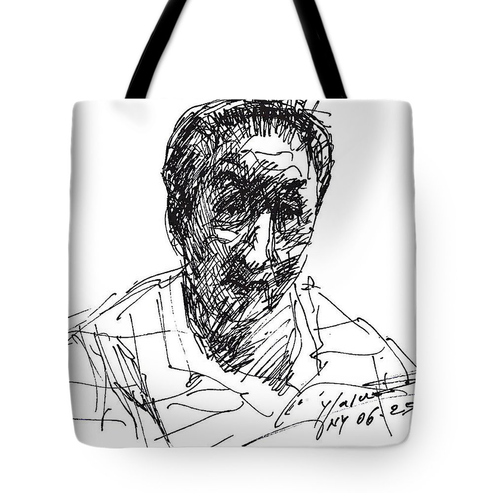 Man Tote Bag featuring the drawing man by Ylli Haruni